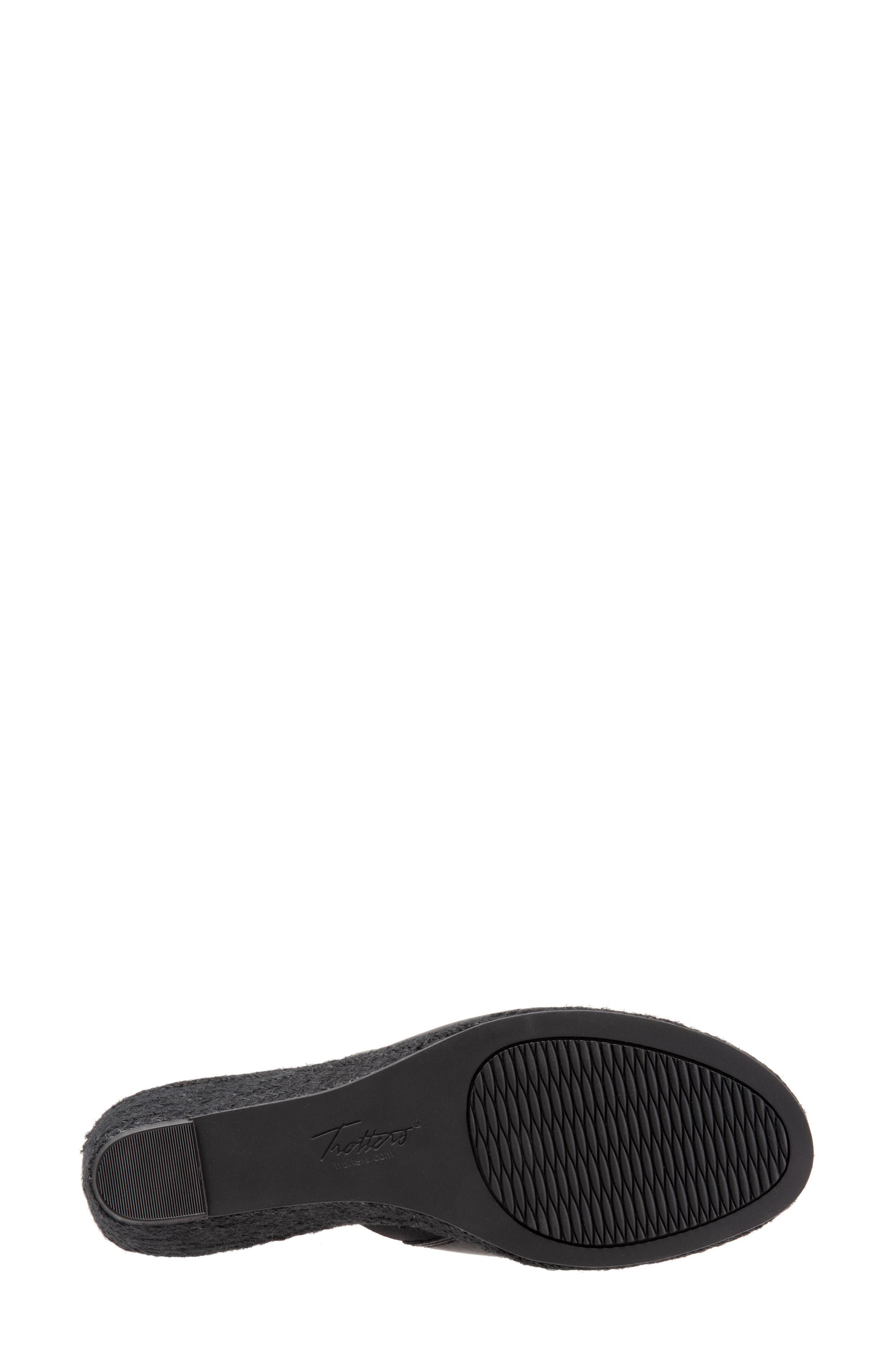TROTTERS, Colony Wedge Slide Sandal, Alternate thumbnail 6, color, BLACK LEATHER