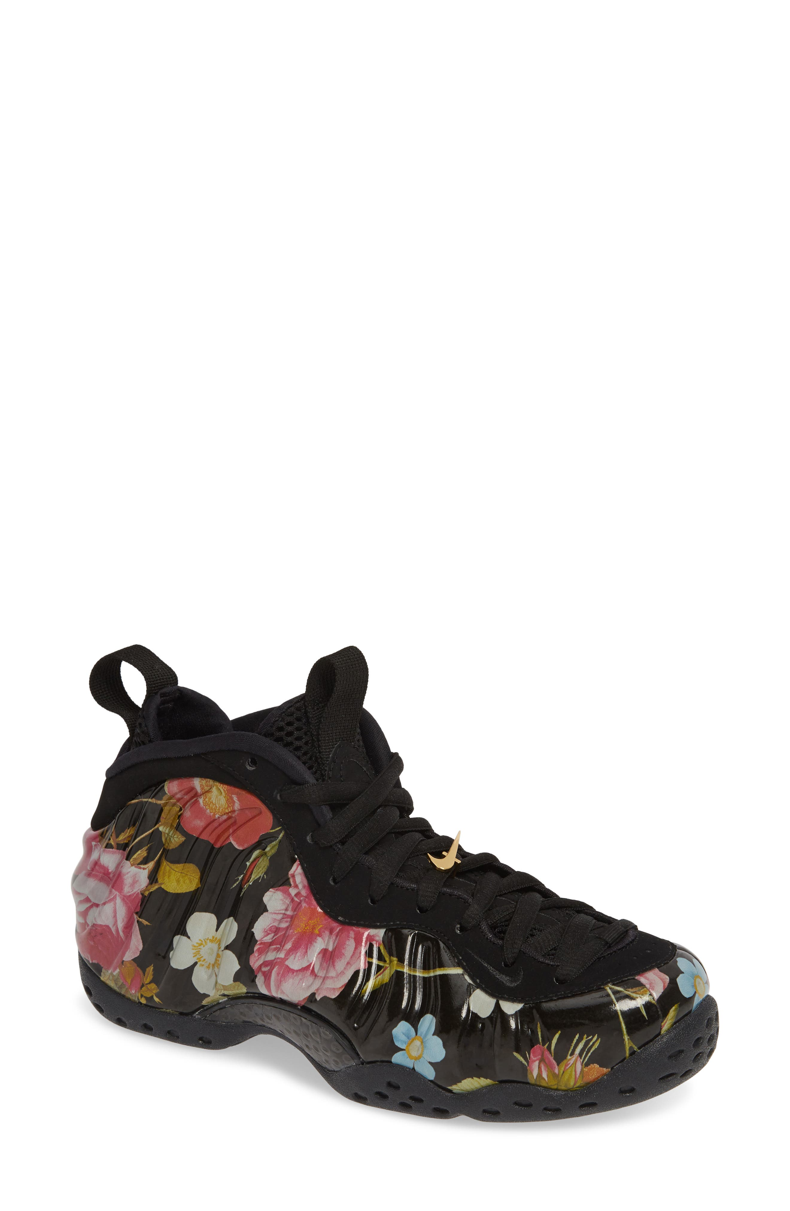 NIKE, Air Foamposite One Sneaker, Main thumbnail 1, color, BLACK/ BLACK-METALLIC GOLD