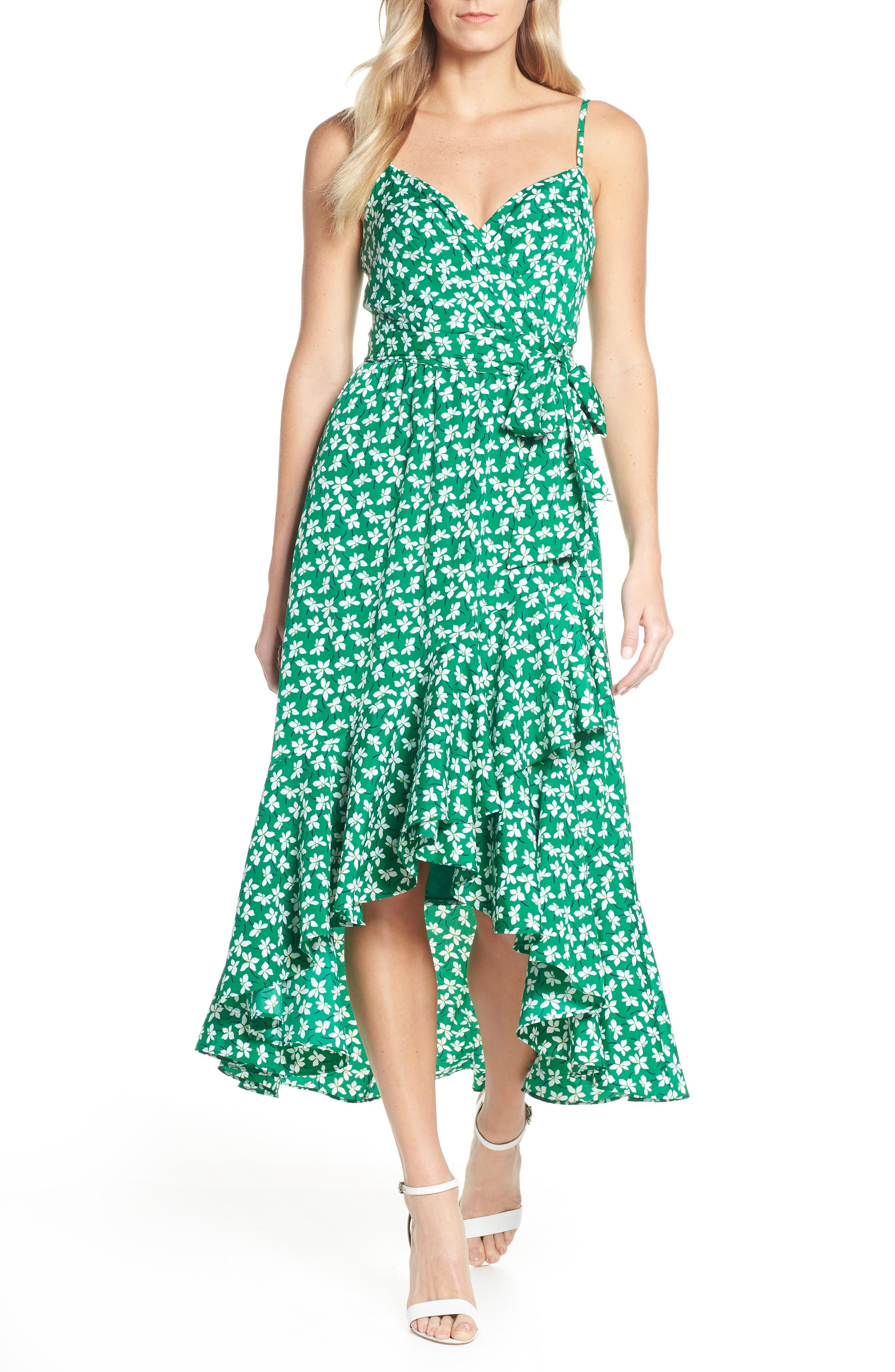 ELIZA J, Floral High/Low Faux Wrap Dress, Main thumbnail 1, color, GREEN
