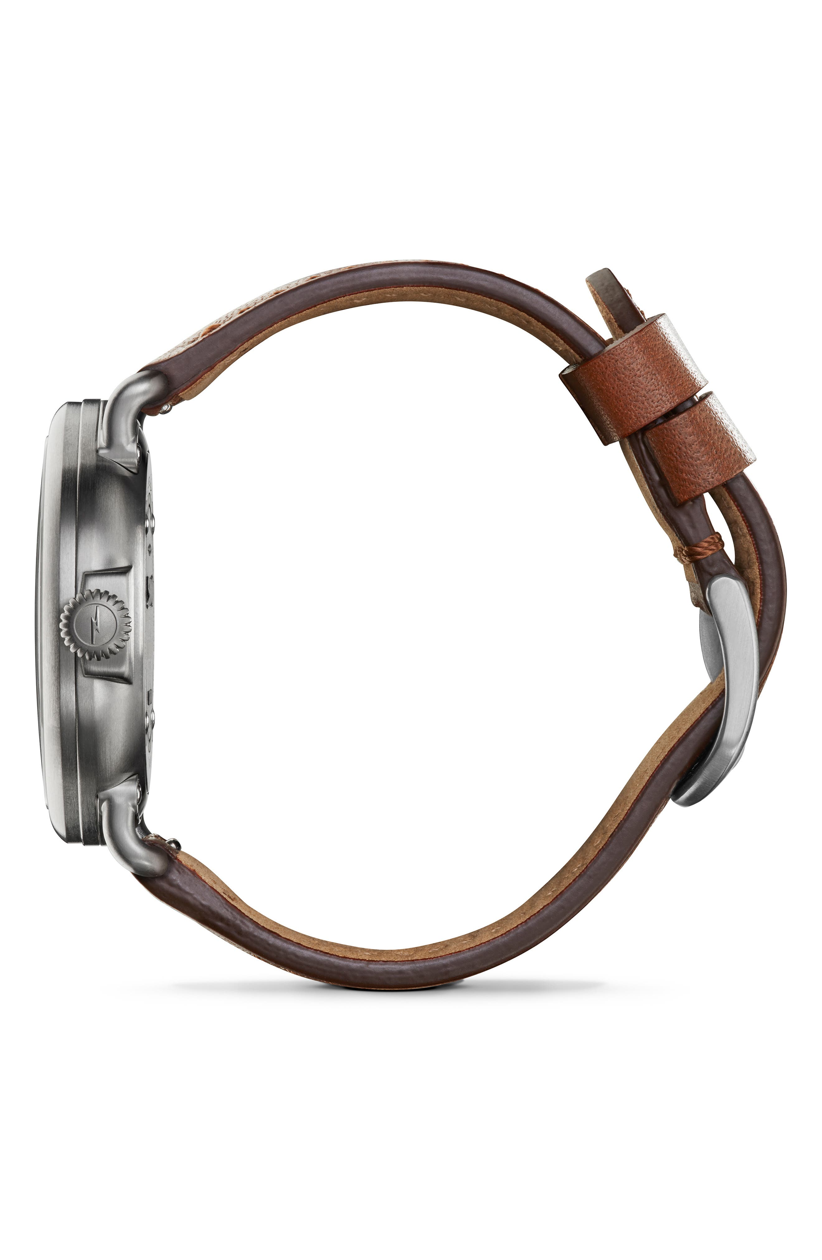 SHINOLA, 'The Runwell' Leather Strap Watch, 41mm, Alternate thumbnail 3, color, DARK COGNAC/ GUNMETAL/ GREY
