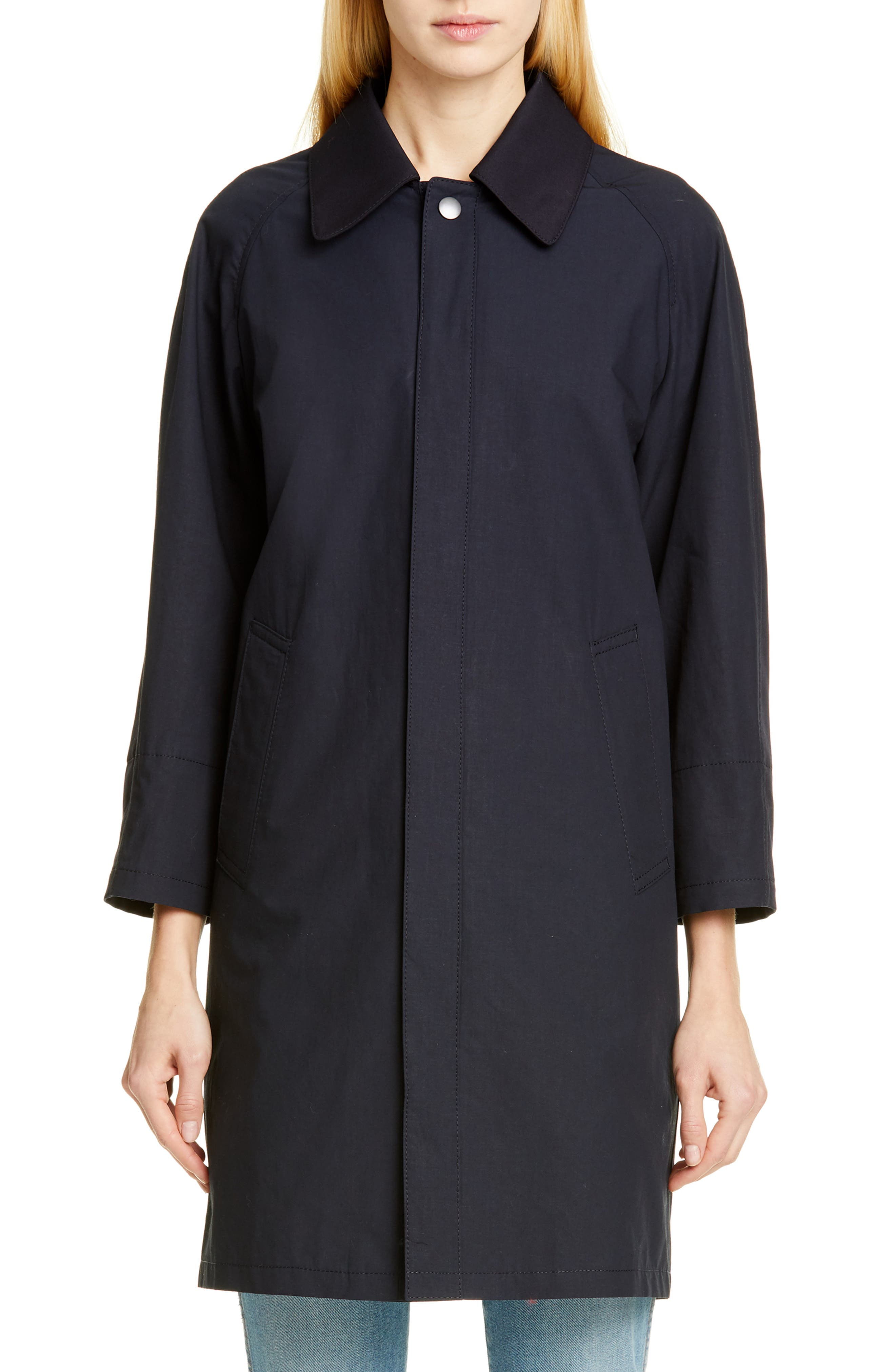 TRICOT COMME DES GARÇONS, Wool Cab Coat with Print Lining, Main thumbnail 1, color, NAVY
