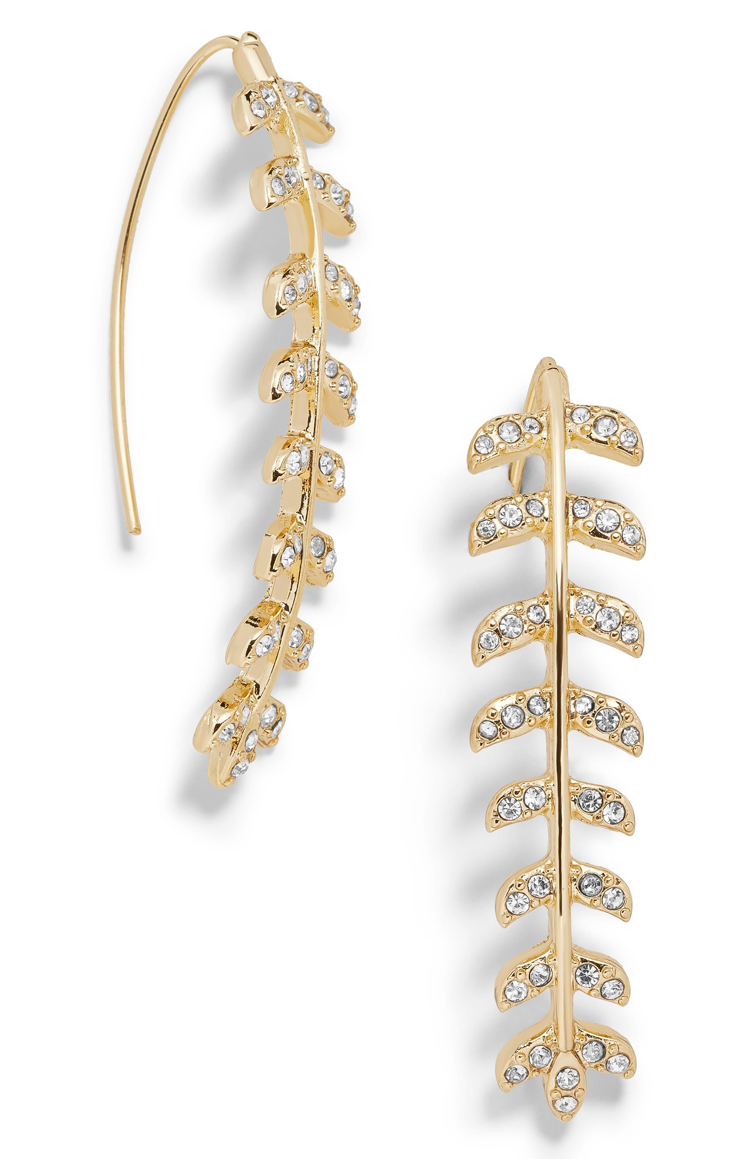 BAUBLEBAR Celosia Crystal Drop Earrings, Main, color, GOLD