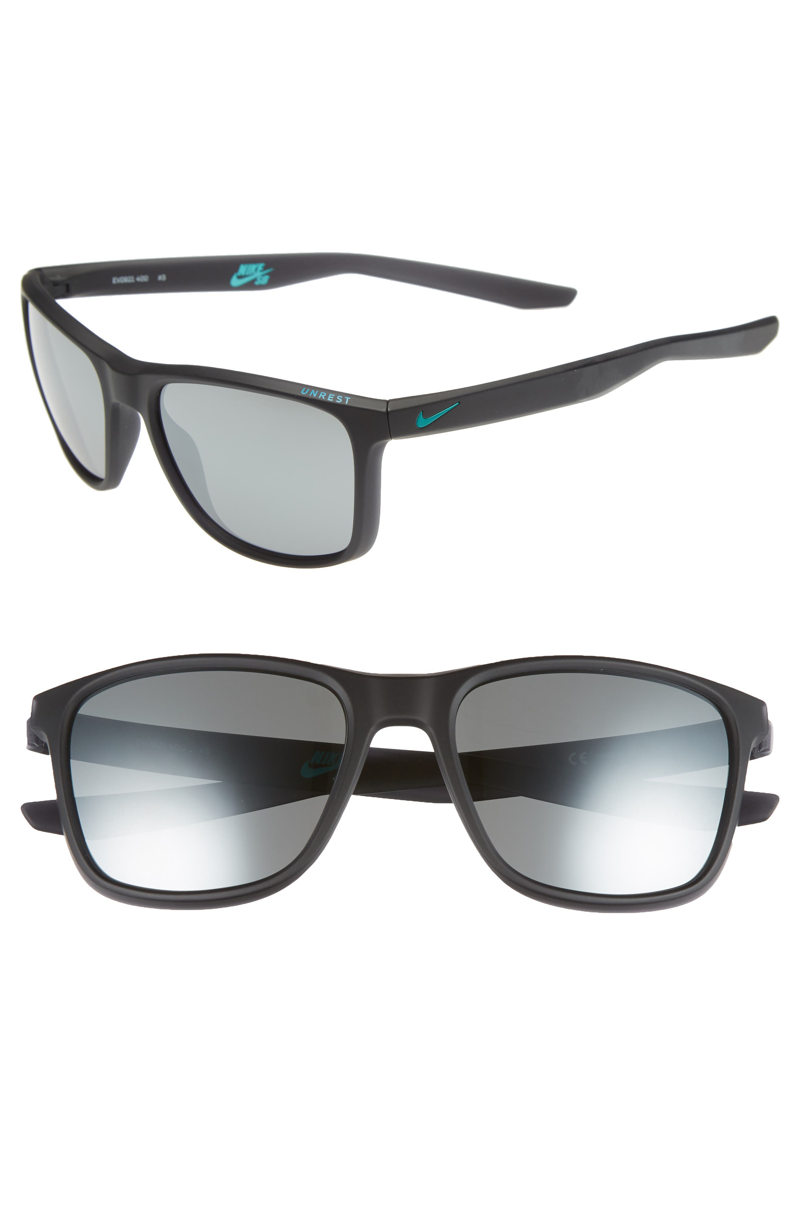 NIKE, Unrest 57mm Sunglasses, Main thumbnail 1, color, MATTE OBSIDIAN/ GREY SILVER