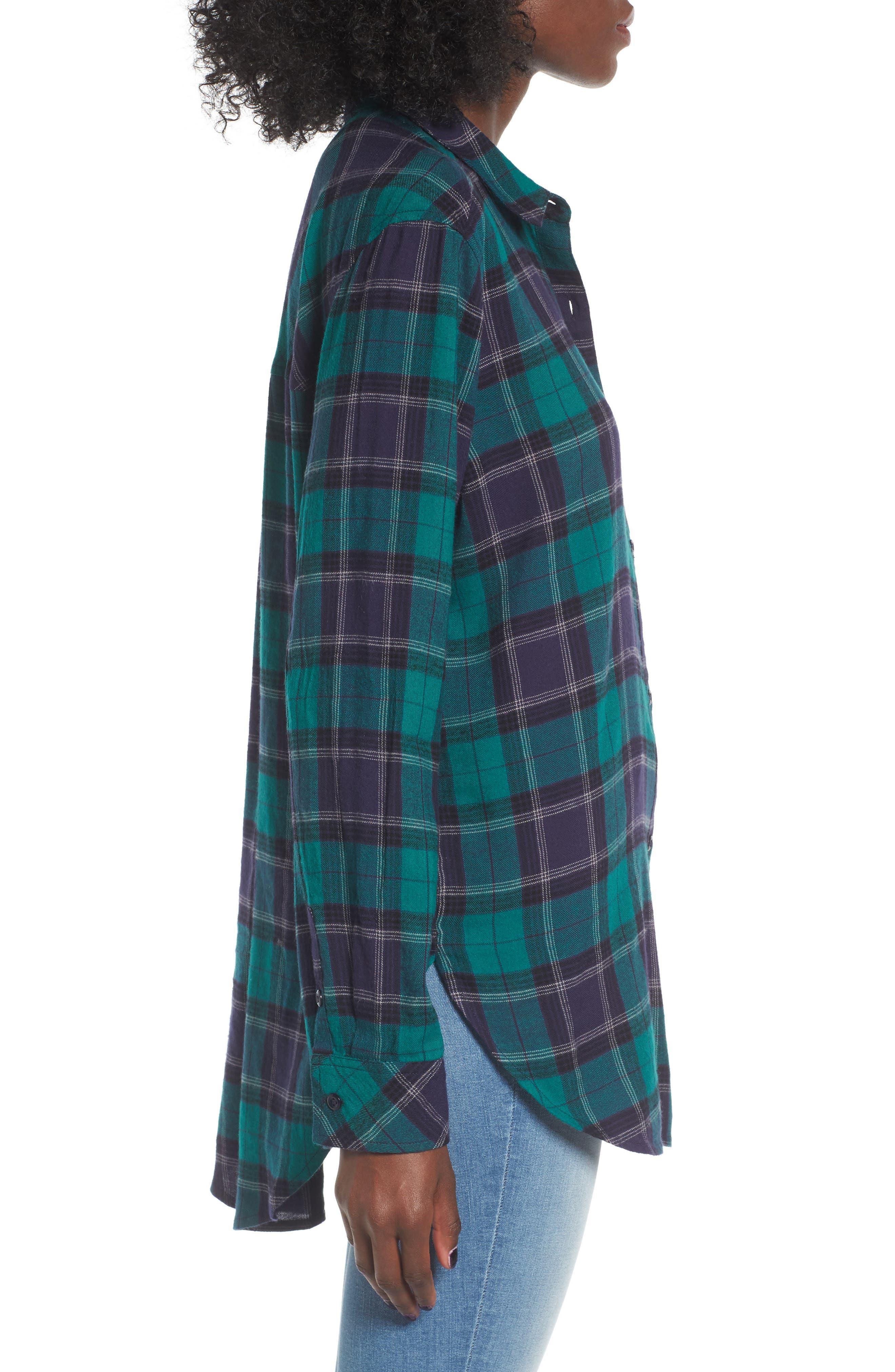 BP., Plaid Cotton Blend Shirt, Alternate thumbnail 3, color, 301