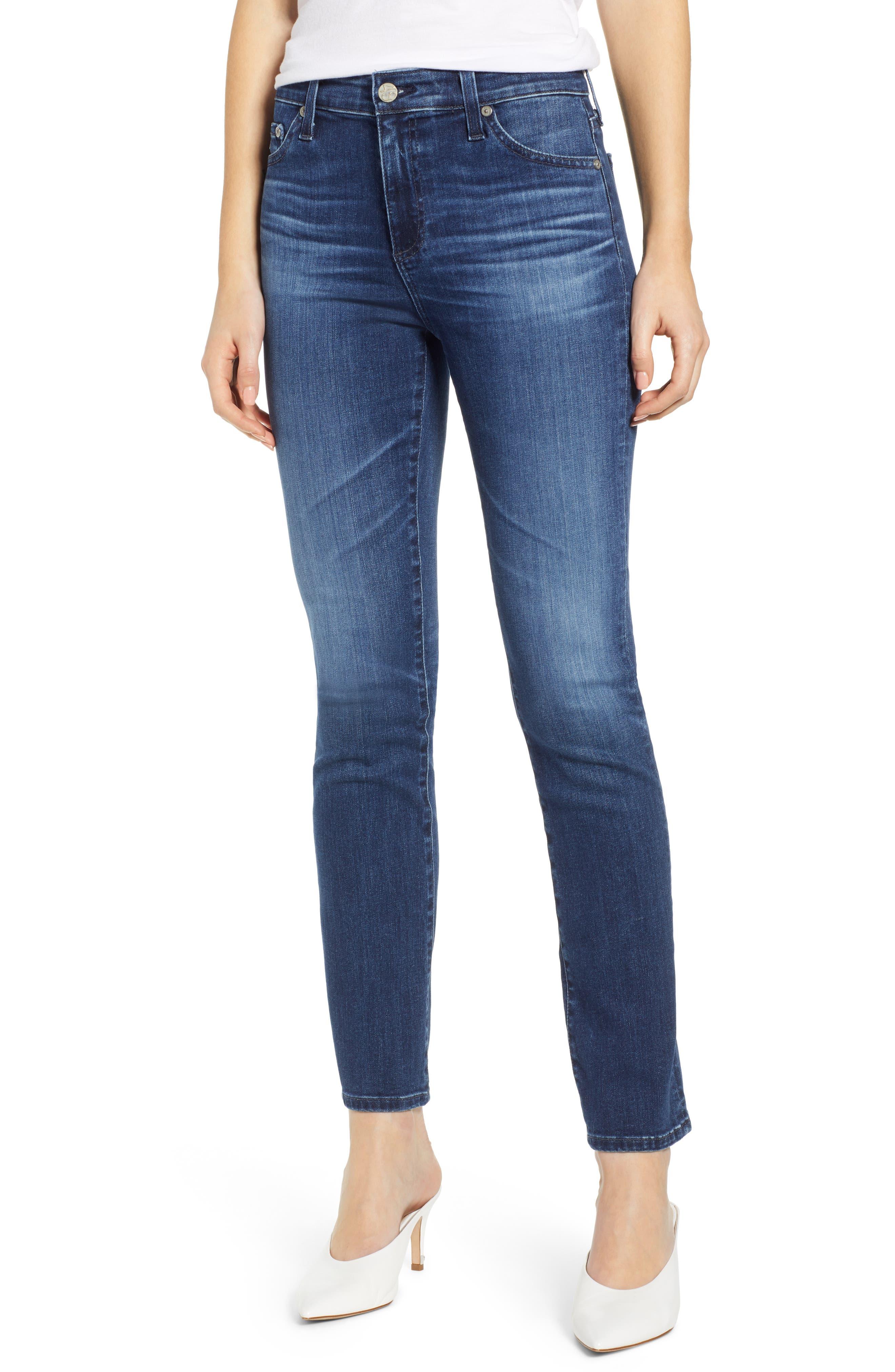 AG, Mari High Waist Slim Straight Leg Jeans, Main thumbnail 1, color, 05 YEAR BLUE ESSENCE