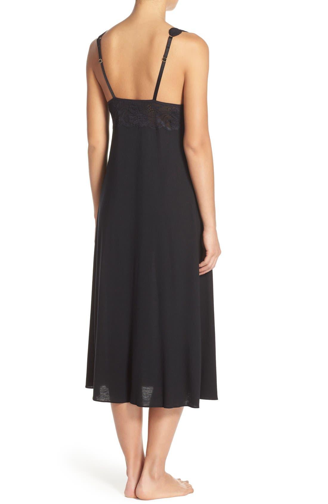 NATORI, 'Zen Floral' Nightgown, Alternate thumbnail 3, color, BLACK