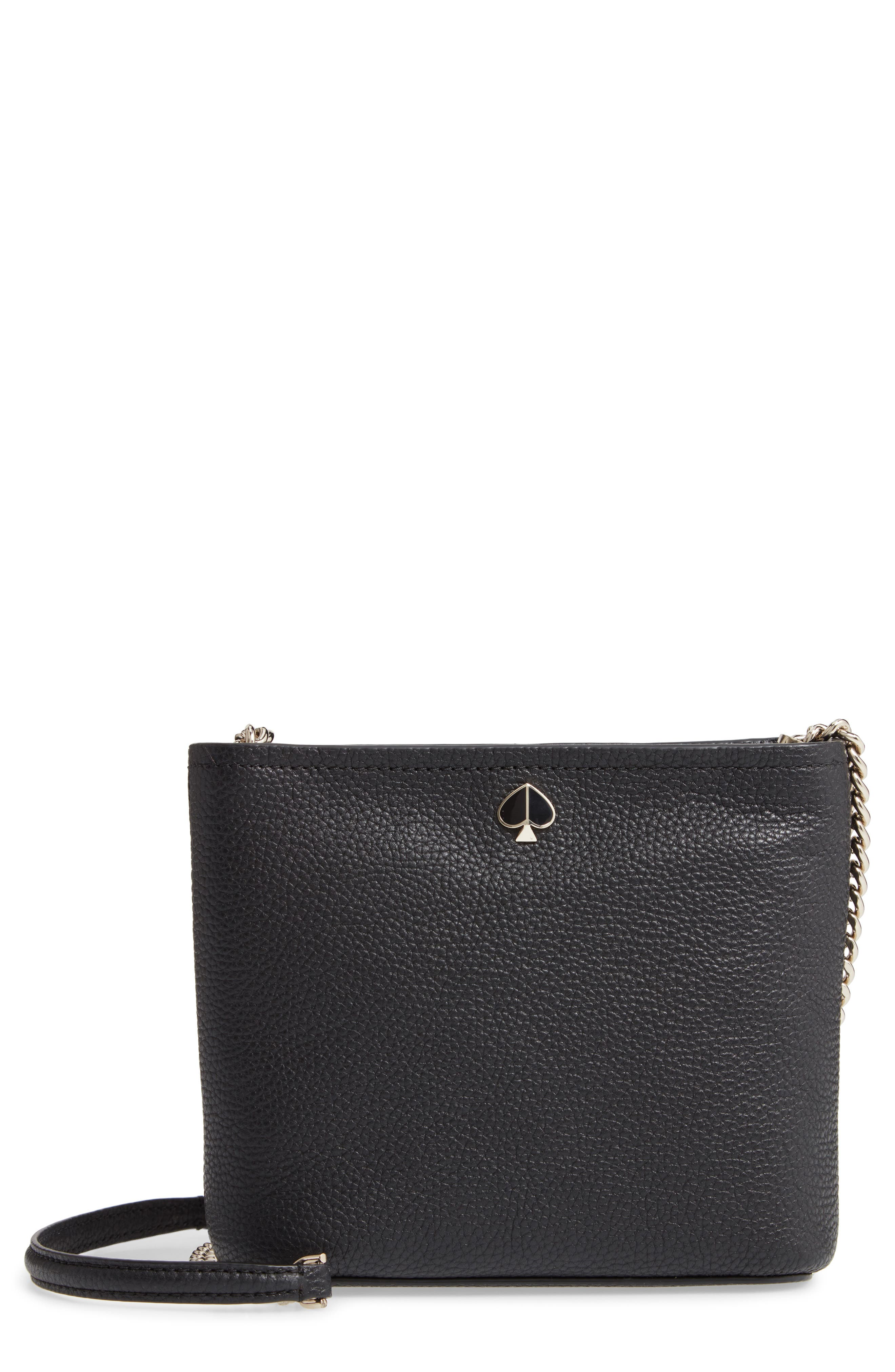 KATE SPADE NEW YORK, small polly leather crossbody bag, Main thumbnail 1, color, BLACK