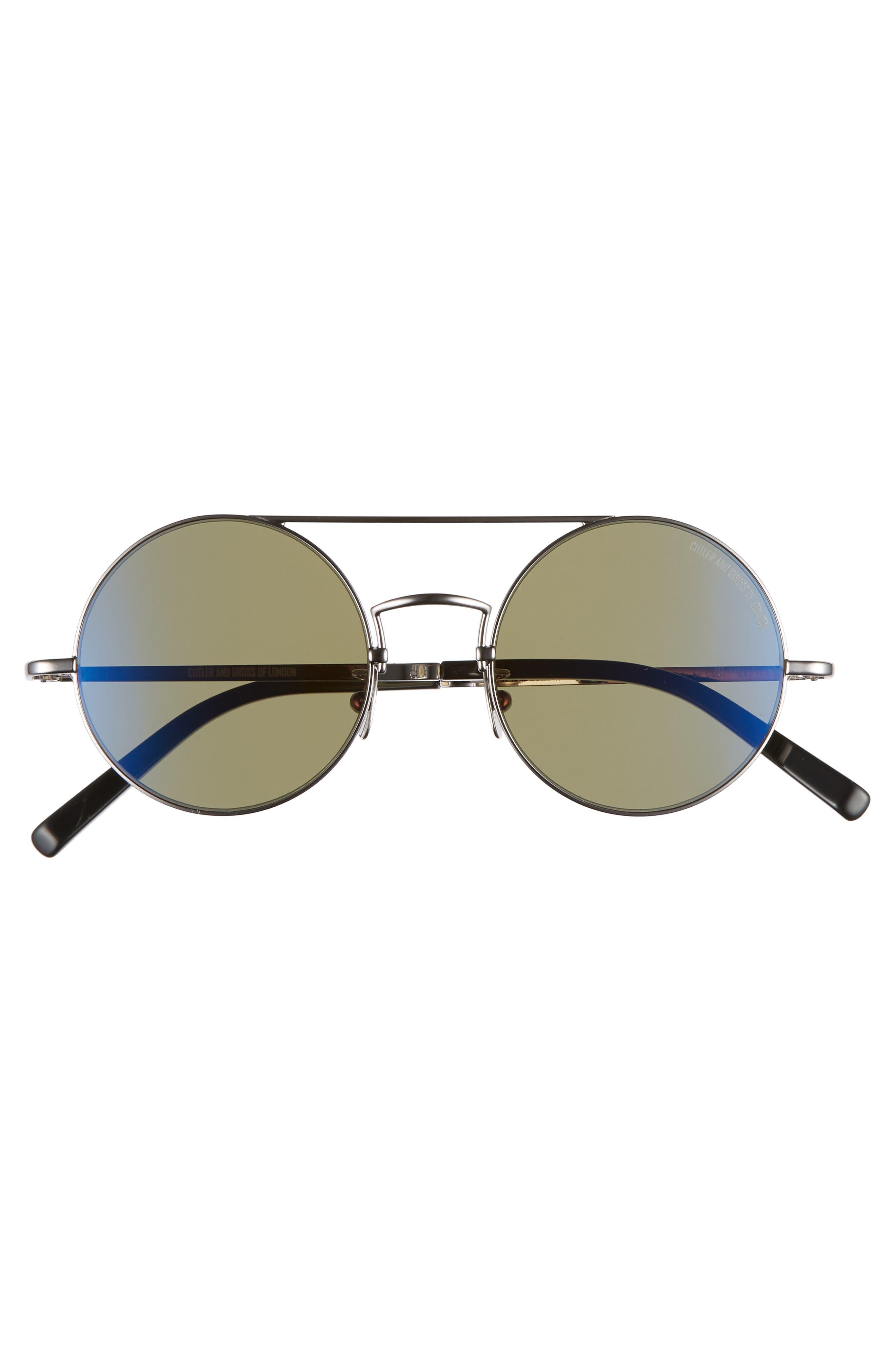 CUTLER AND GROSS, 49mm Polarized Round Sunglasses, Alternate thumbnail 2, color, RUTHENIUM METAL/ DARK GREEN