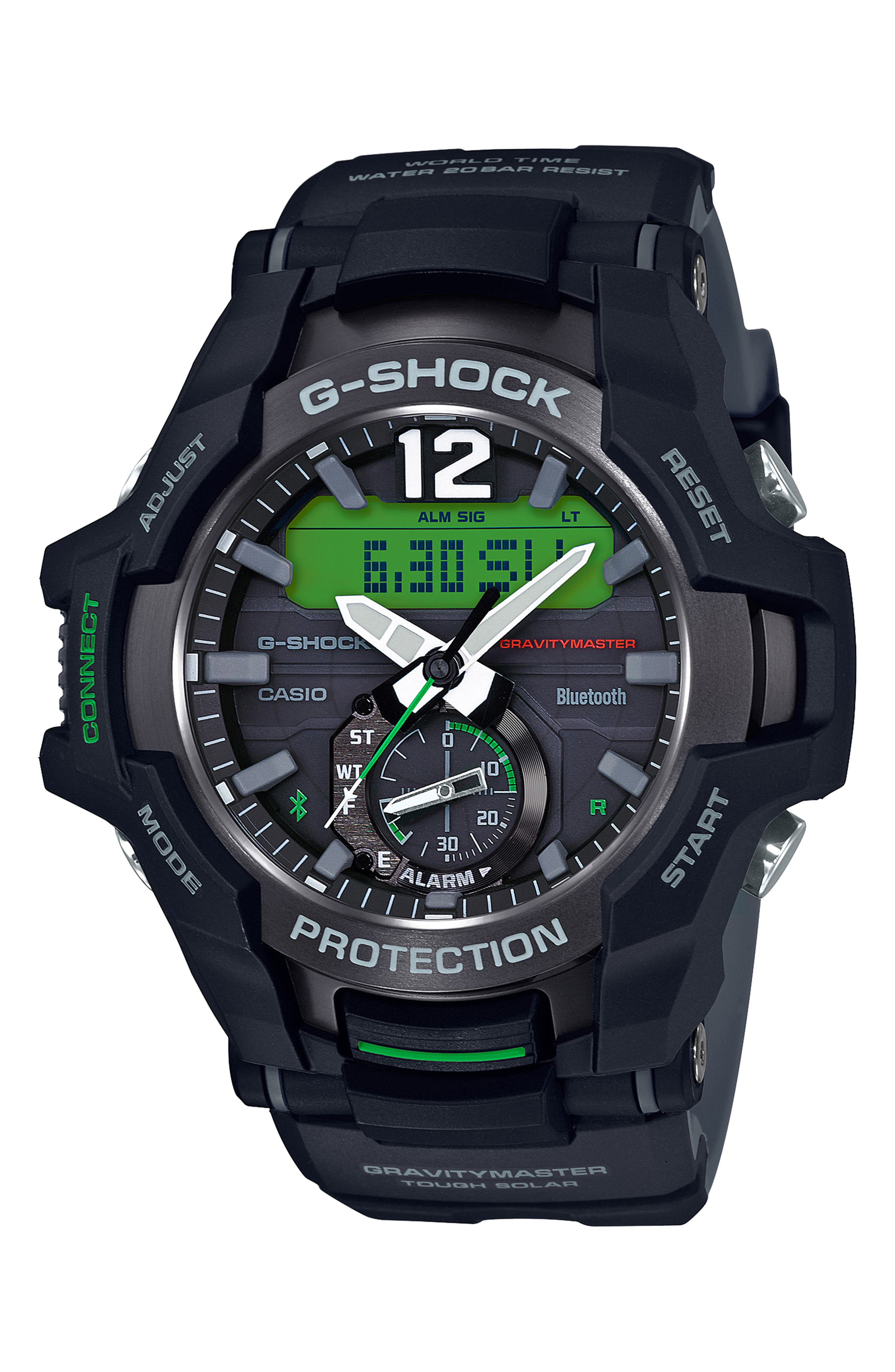 G-SHOCK BABY-G G-Shock GravityMaster Ana-Digi Bluetooth<sup>®</sup> Enabled Resin Strap Watch, 49mm, Main, color, BLACK MULTI