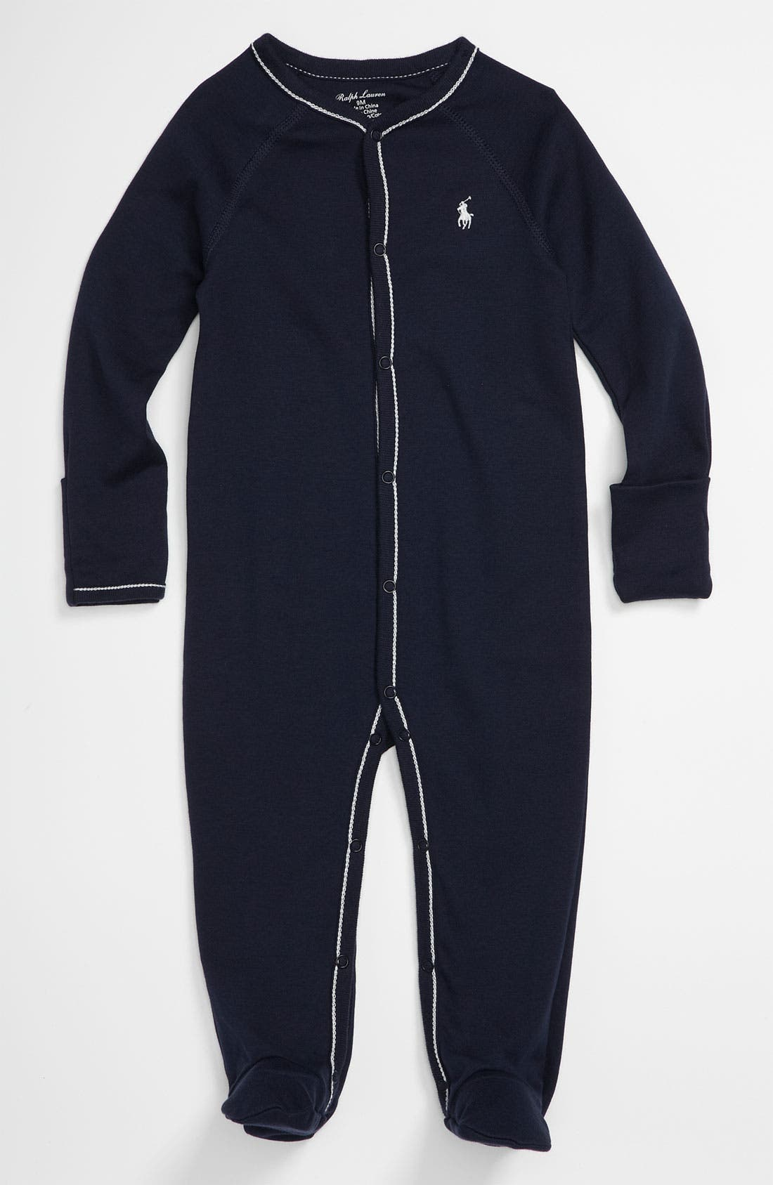 RALPH LAUREN, Footie, Main thumbnail 1, color, FRENCH NAVY W/ WHITE STITCHING