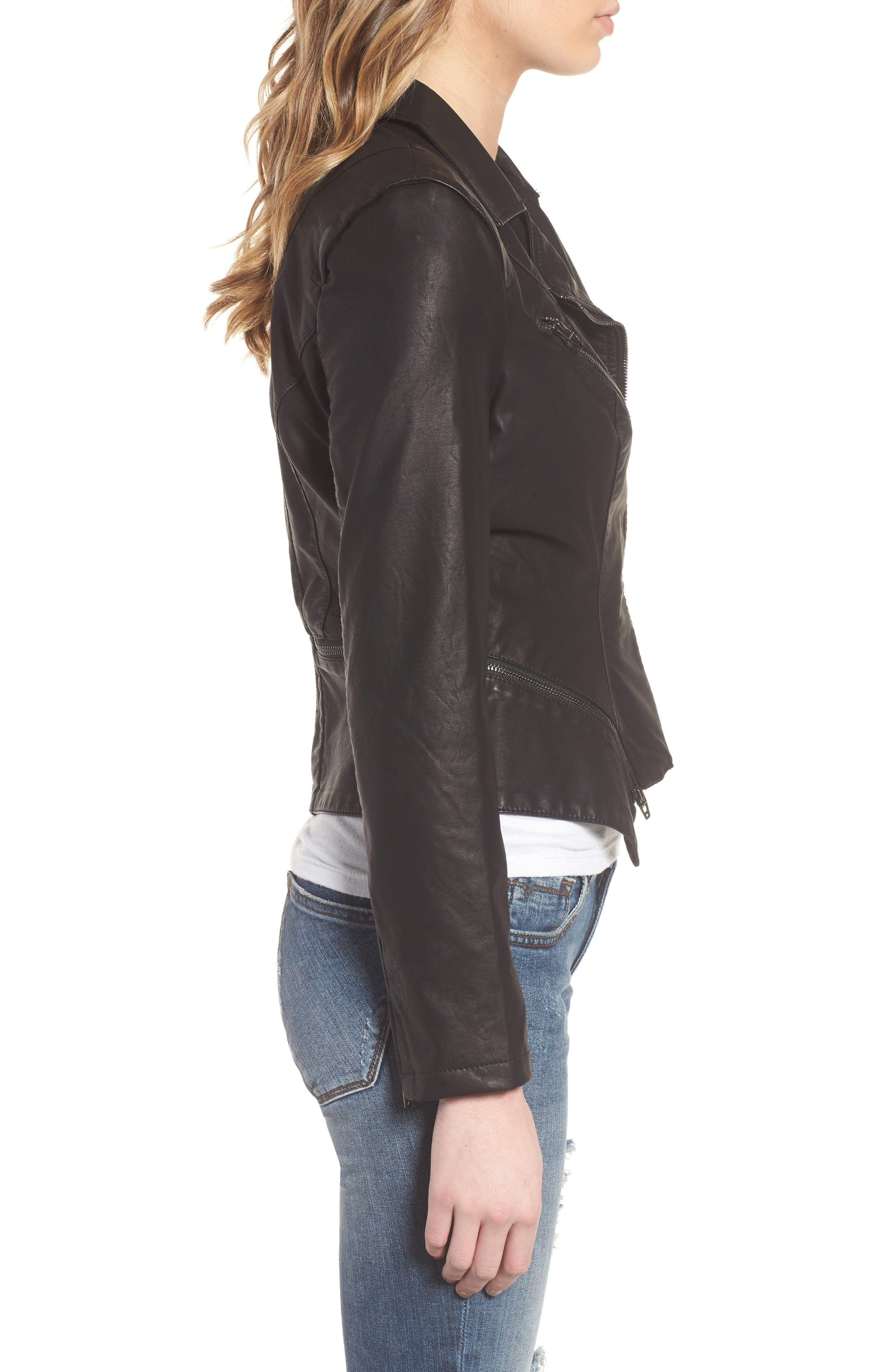 BLANKNYC, Faux Leather Moto Jacket, Alternate thumbnail 5, color, BLACK