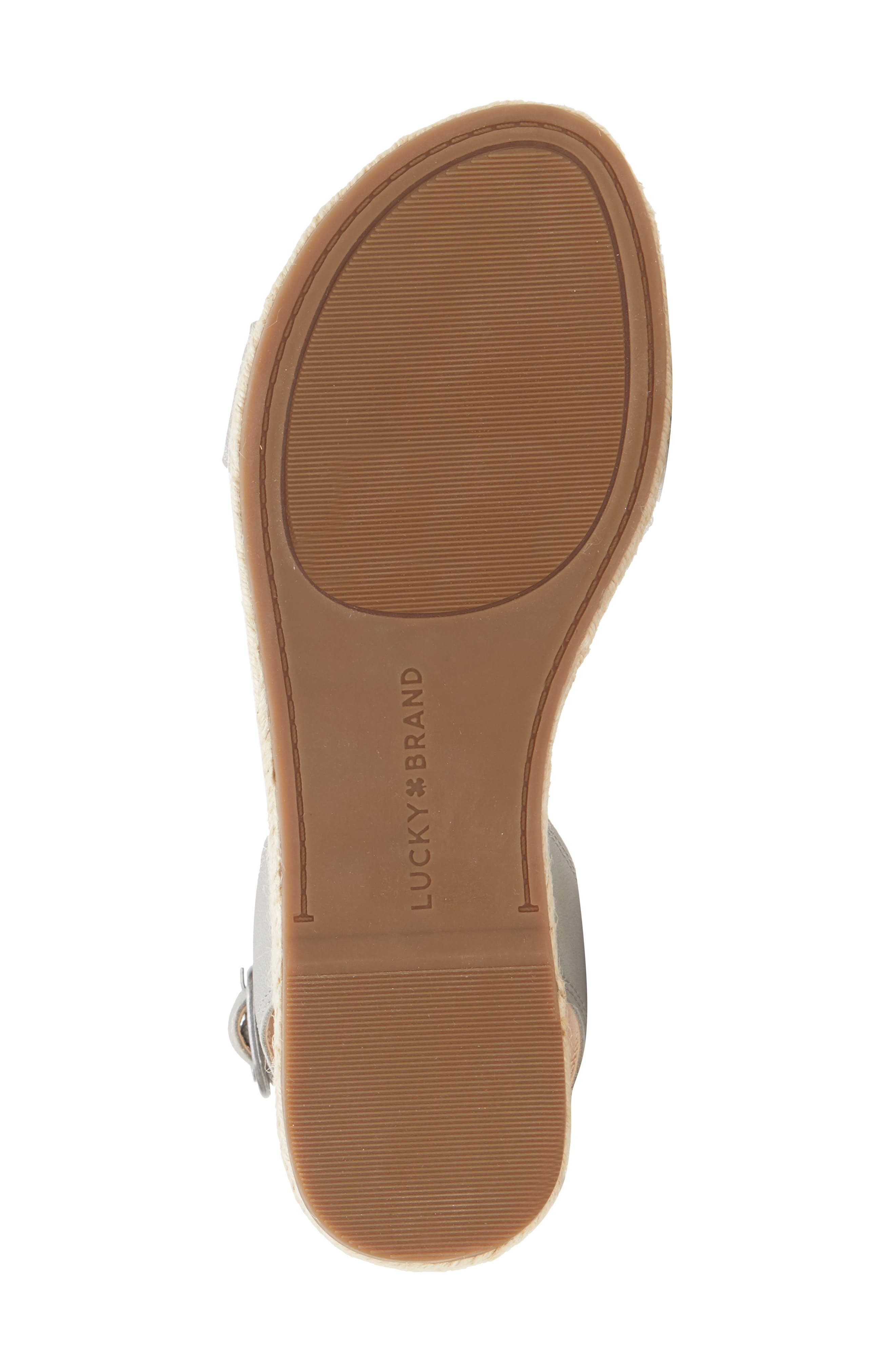 LUCKY BRAND, Garston Espadrille Sandal, Alternate thumbnail 6, color, CHINCHILLA LEATHER