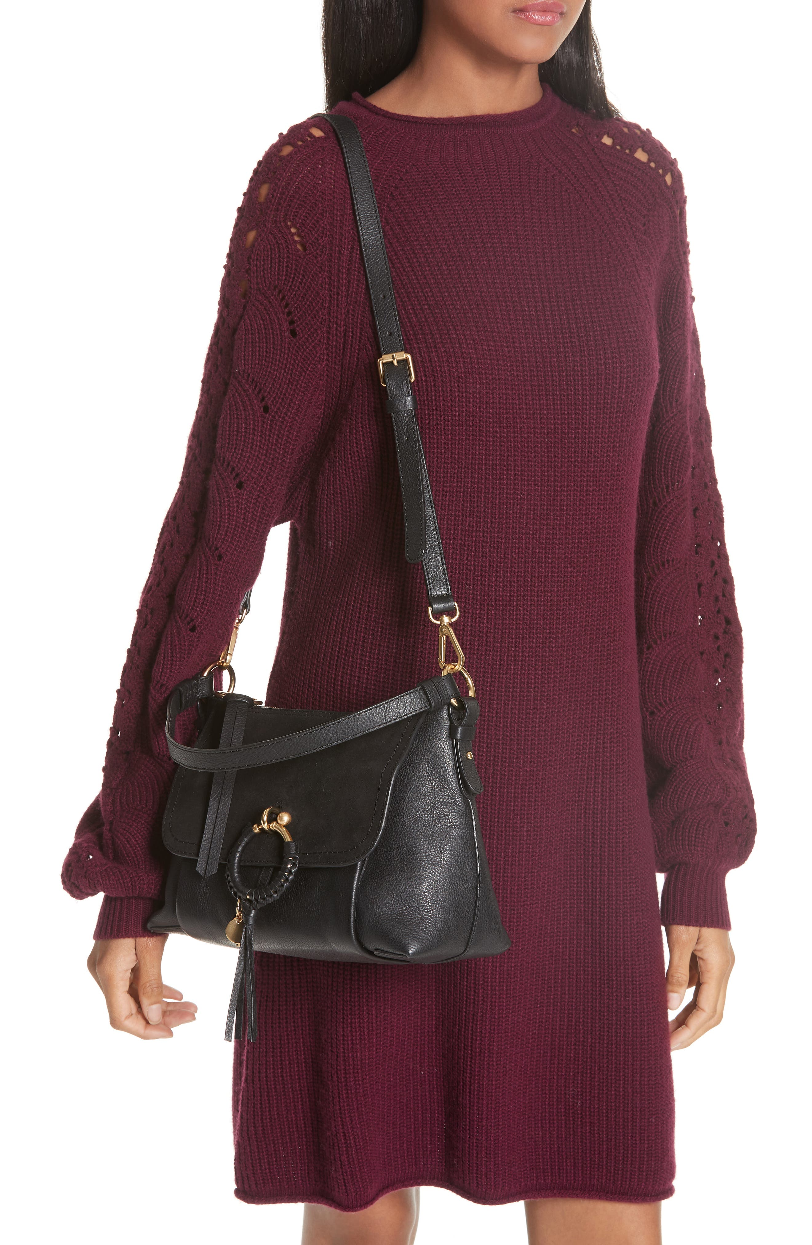 SEE BY CHLOÉ, Small Joan Suede & Leather Crossbody Bag, Alternate thumbnail 2, color, BLACK