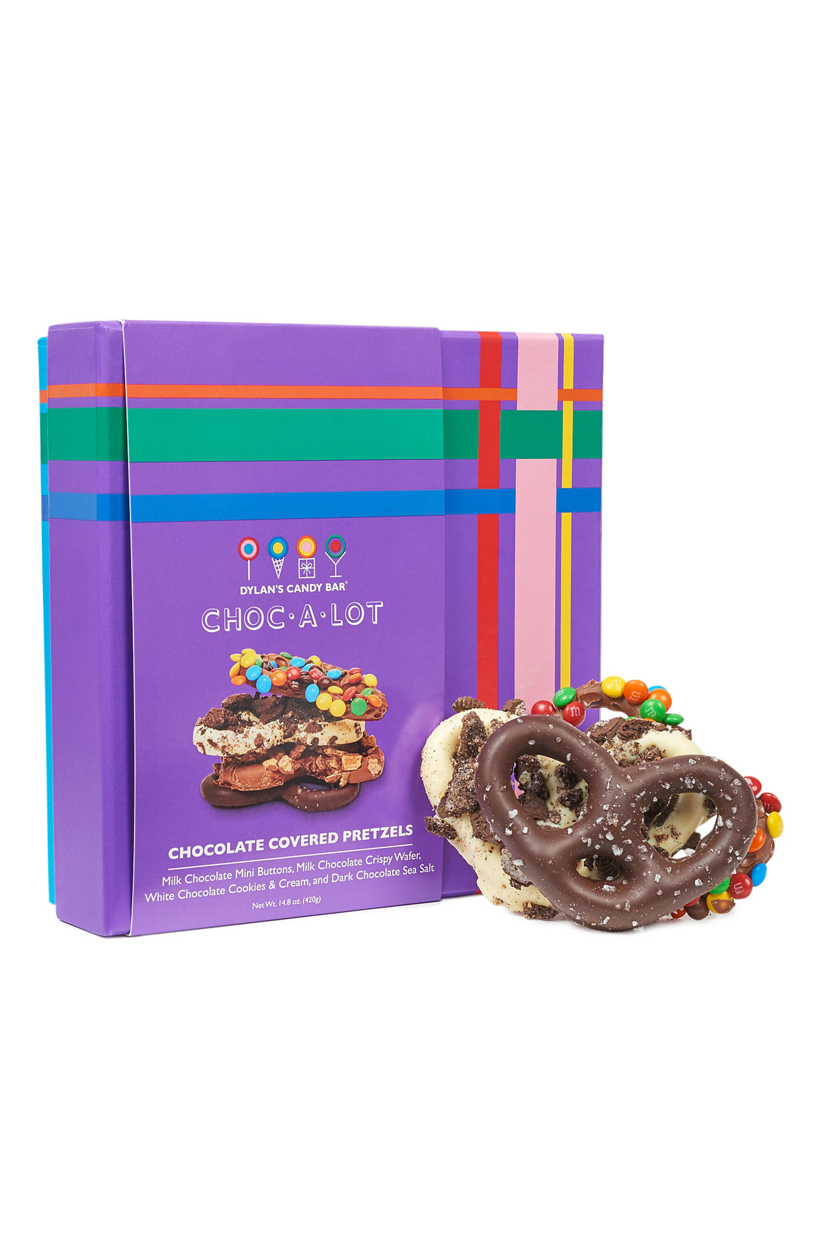 DYLAN'S CANDY BAR, Choc-A-Lot Chocolate Covered Pretzels, Main thumbnail 1, color, PURPLE