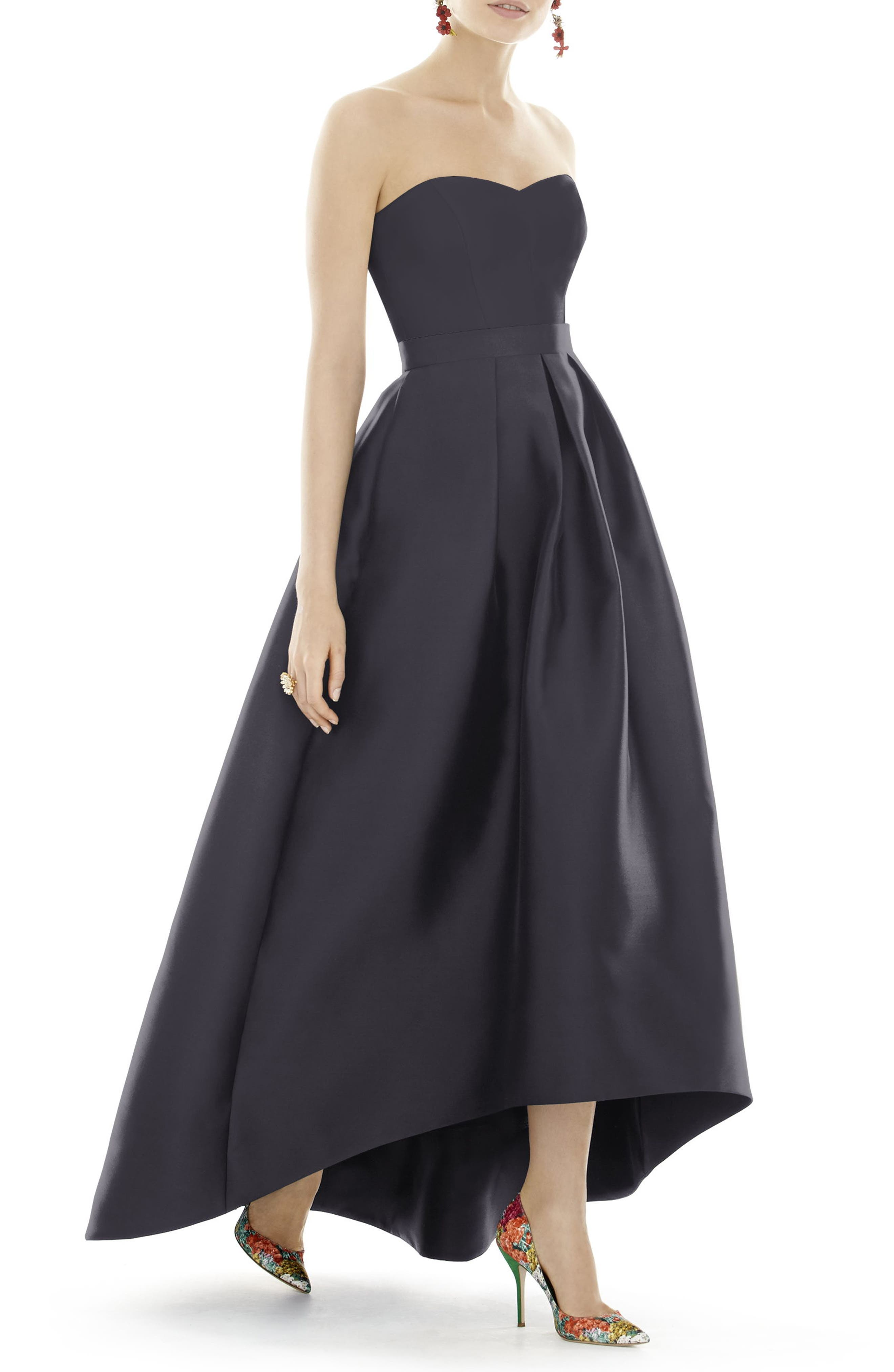 ALFRED SUNG, Strapless High/Low Satin Twill Ballgown, Main thumbnail 1, color, ONYX