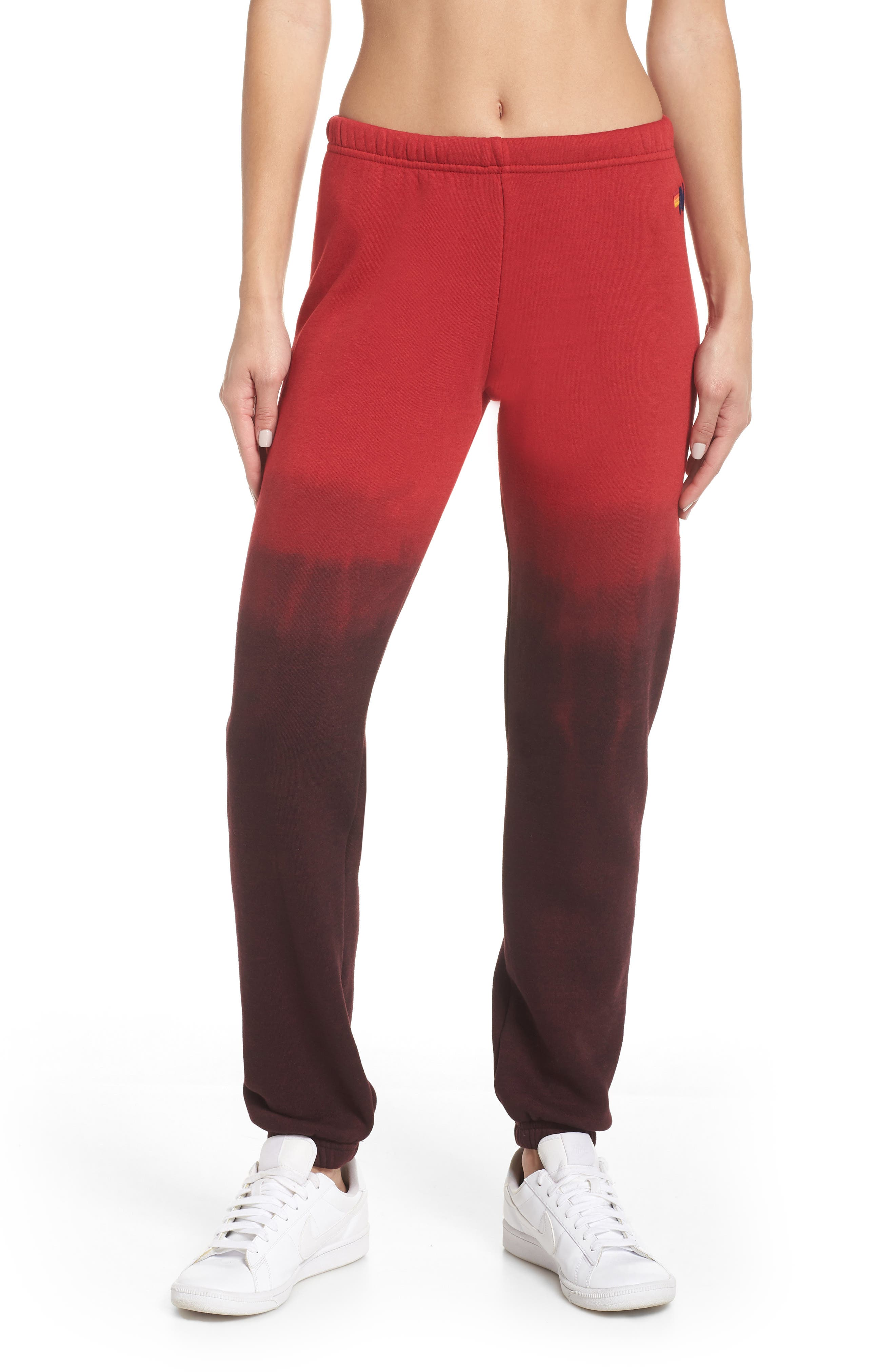 AVIATOR NATION Faded Sweatpants, Main, color, RED / CHARCOAL