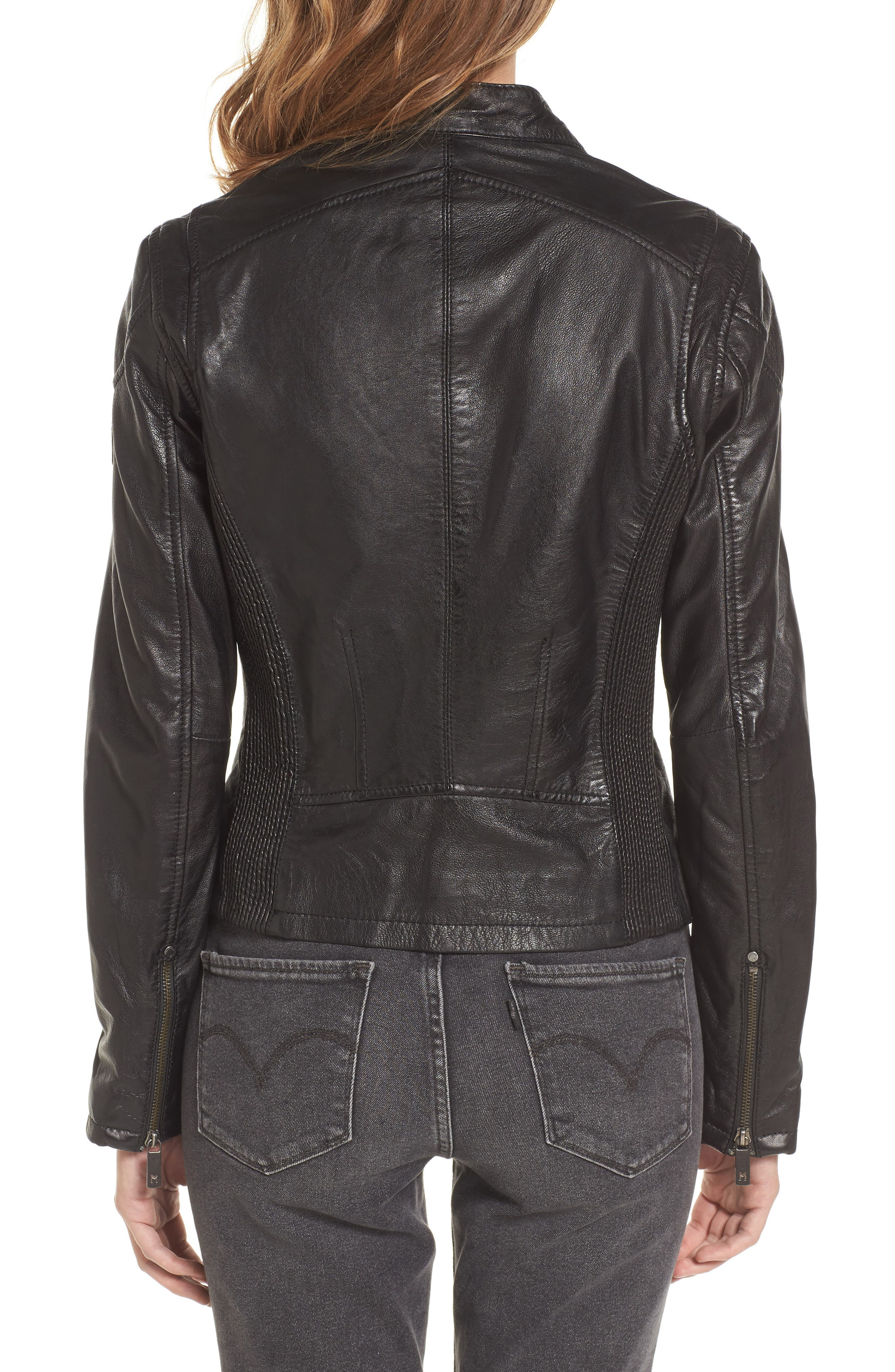 MAURITIUS, Leather Lambskin Leather Moto Jacket, Alternate thumbnail 2, color, 001