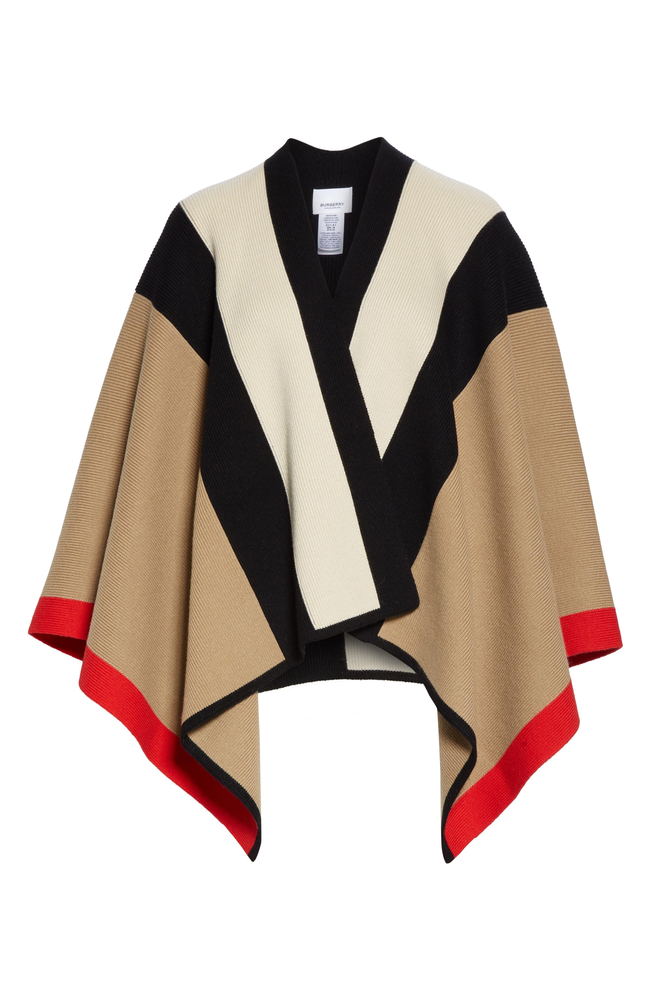 BURBERRY, Stripe Wool & Cashmere Cape, Alternate thumbnail 6, color, CAMEL