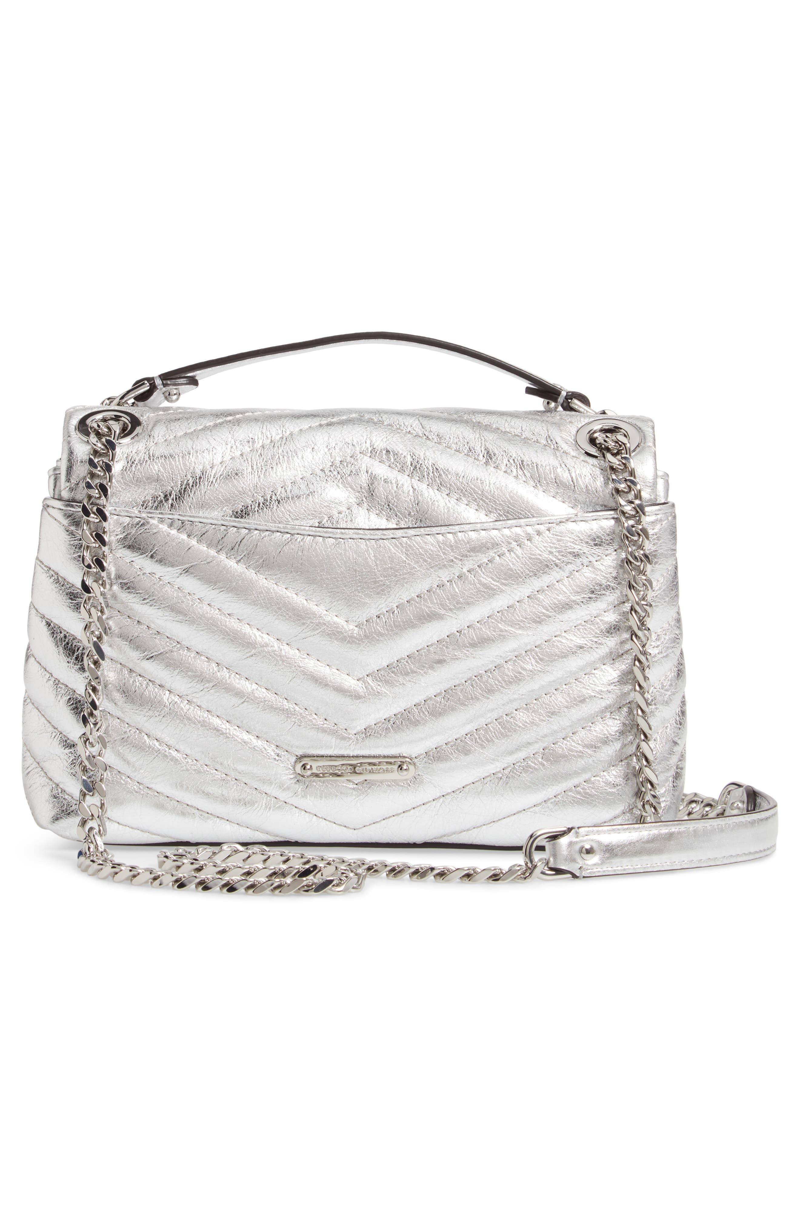 REBECCA MINKOFF, Edie Metallic Leather Shoulder Bag, Alternate thumbnail 3, color, SILVER