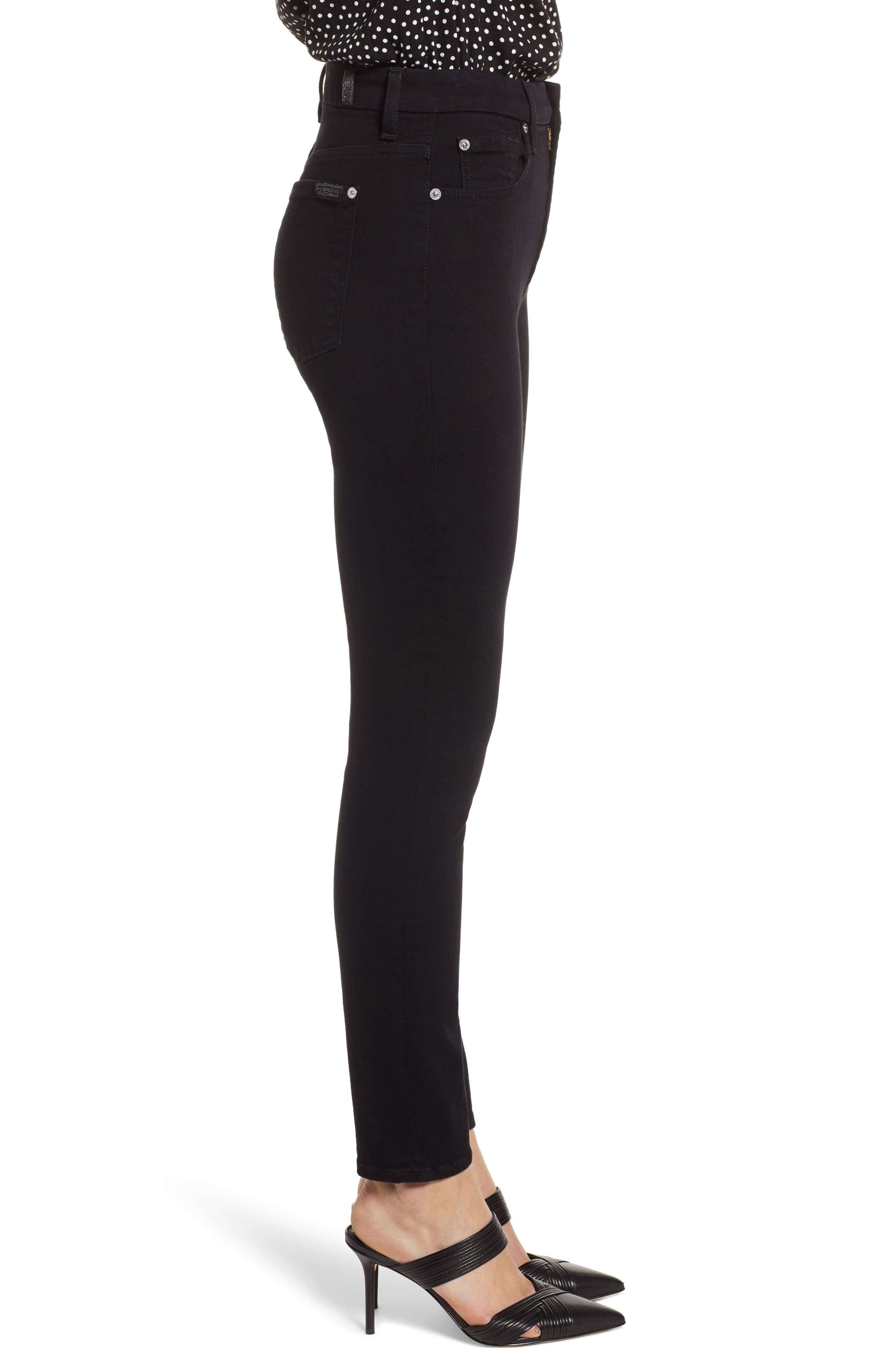 7 FOR ALL MANKIND<SUP>®</SUP>, Aubrey Super High Waist Ankle Skinny Jeans, Alternate thumbnail 4, color, PITCH BLACK