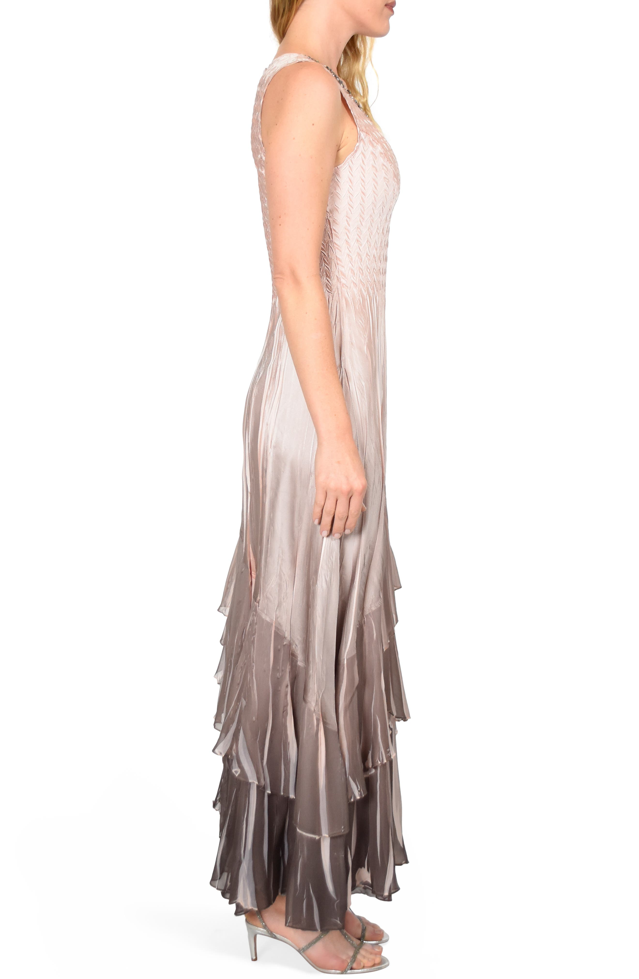 KOMAROV, Layered Maxi Dress with Wrap, Alternate thumbnail 4, color, VINTAGE ROSE CAFE OMBRE
