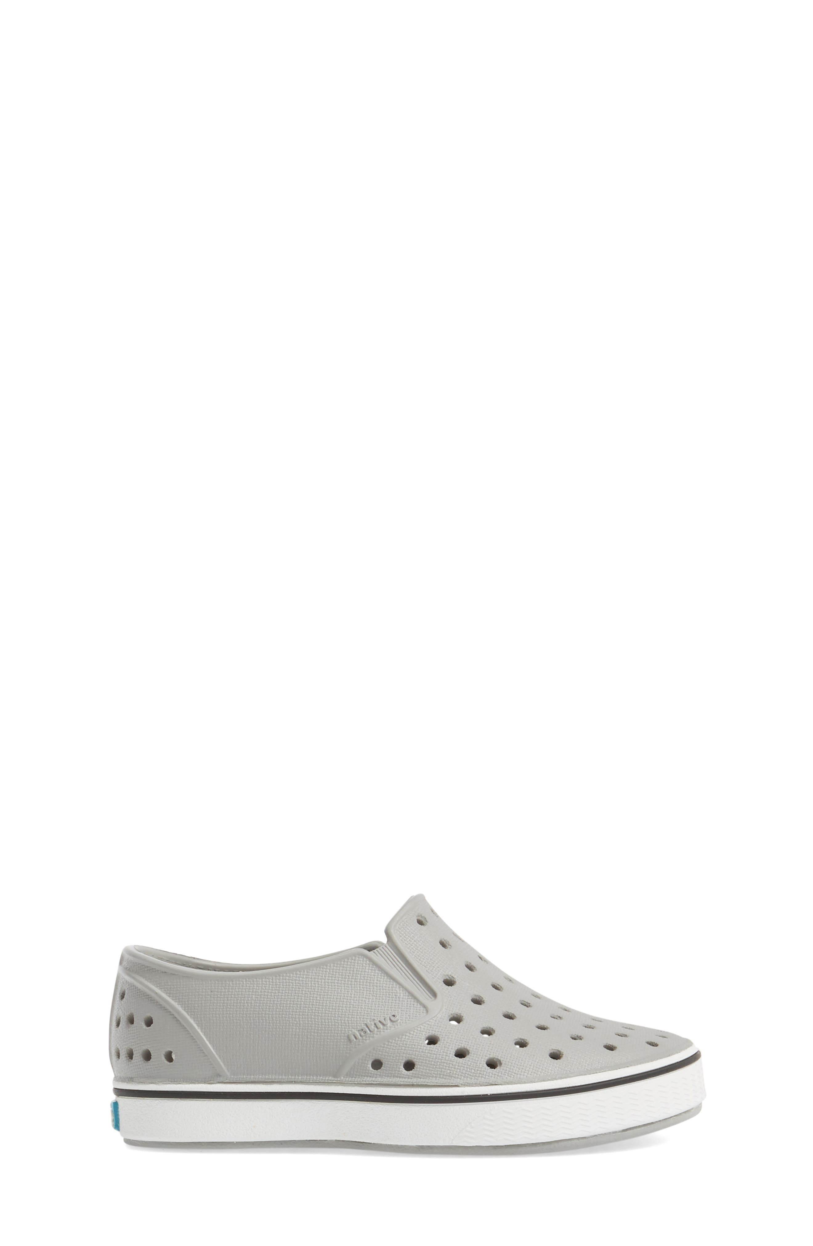 NATIVE SHOES, Miles Water Friendly Slip-On Vegan Sneaker, Alternate thumbnail 3, color, PIGEON GREY/ SHELL WHITE
