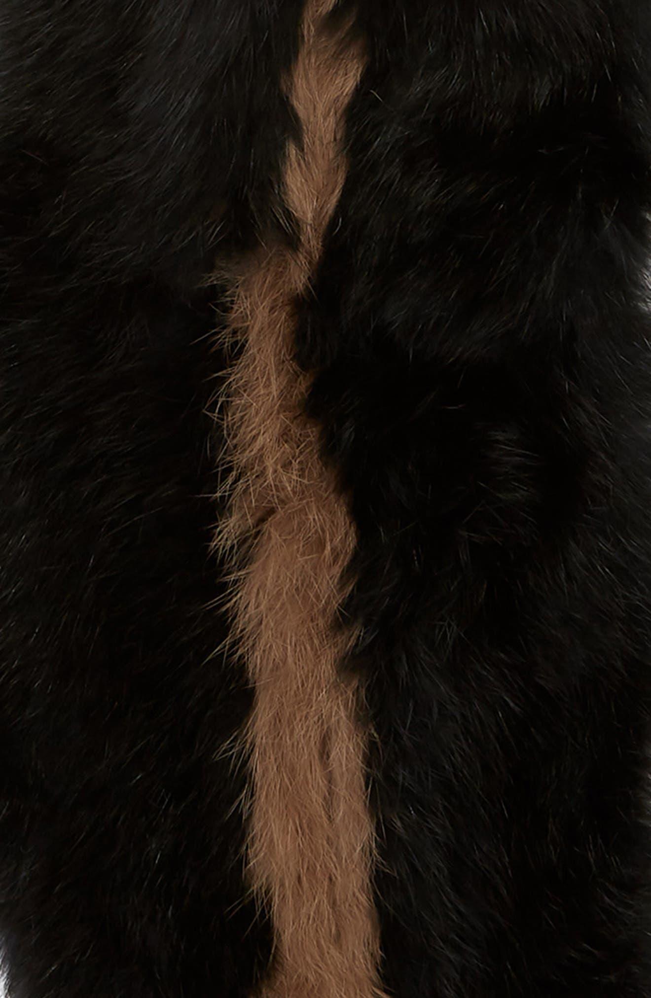 LOVE TOKEN, Genuine Rabbit Fur Infinity Scarf, Alternate thumbnail 4, color, 001
