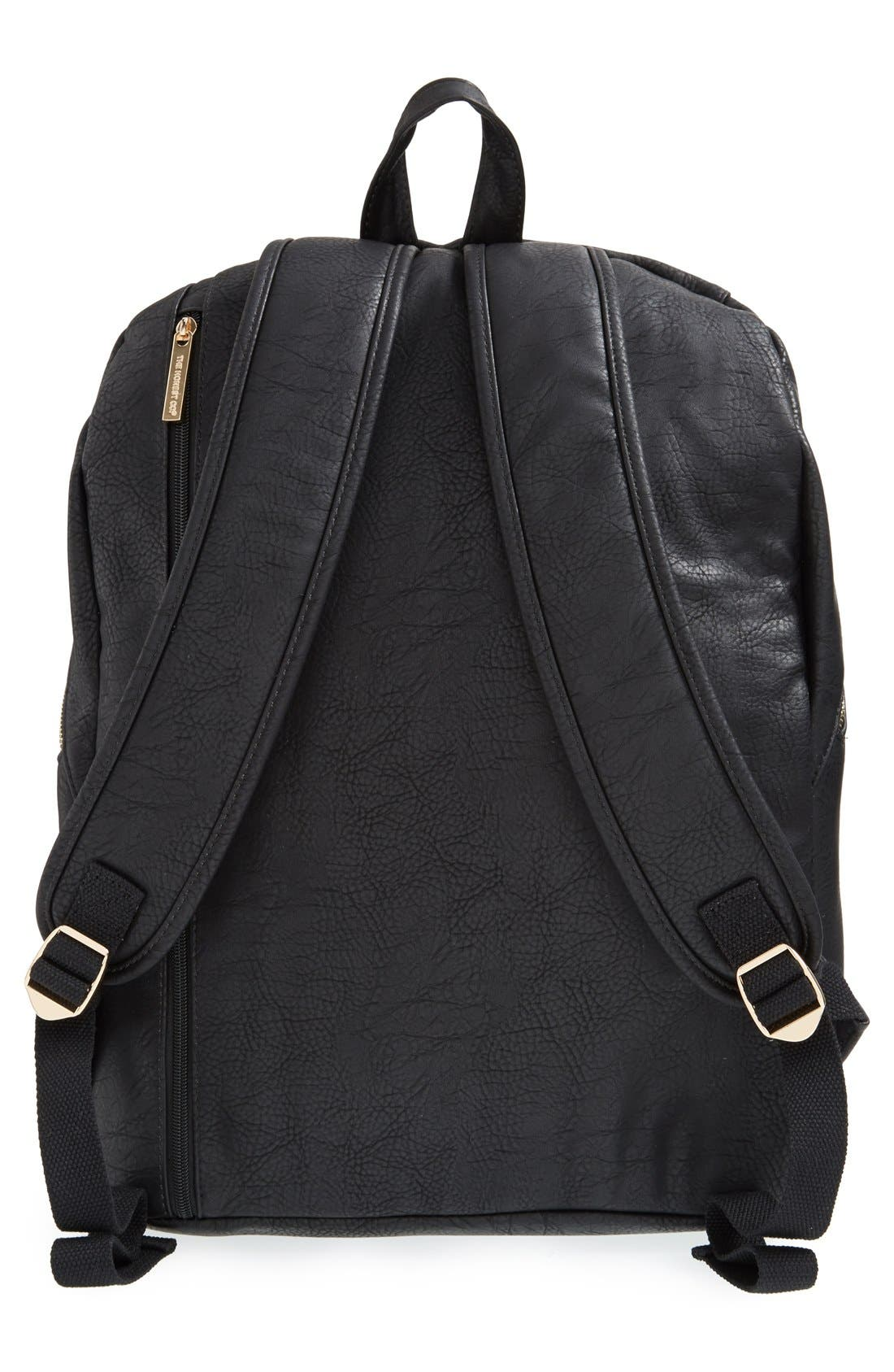 THE HONEST COMPANY, 'City' Faux Leather Diaper Backpack, Alternate thumbnail 2, color, BLACK