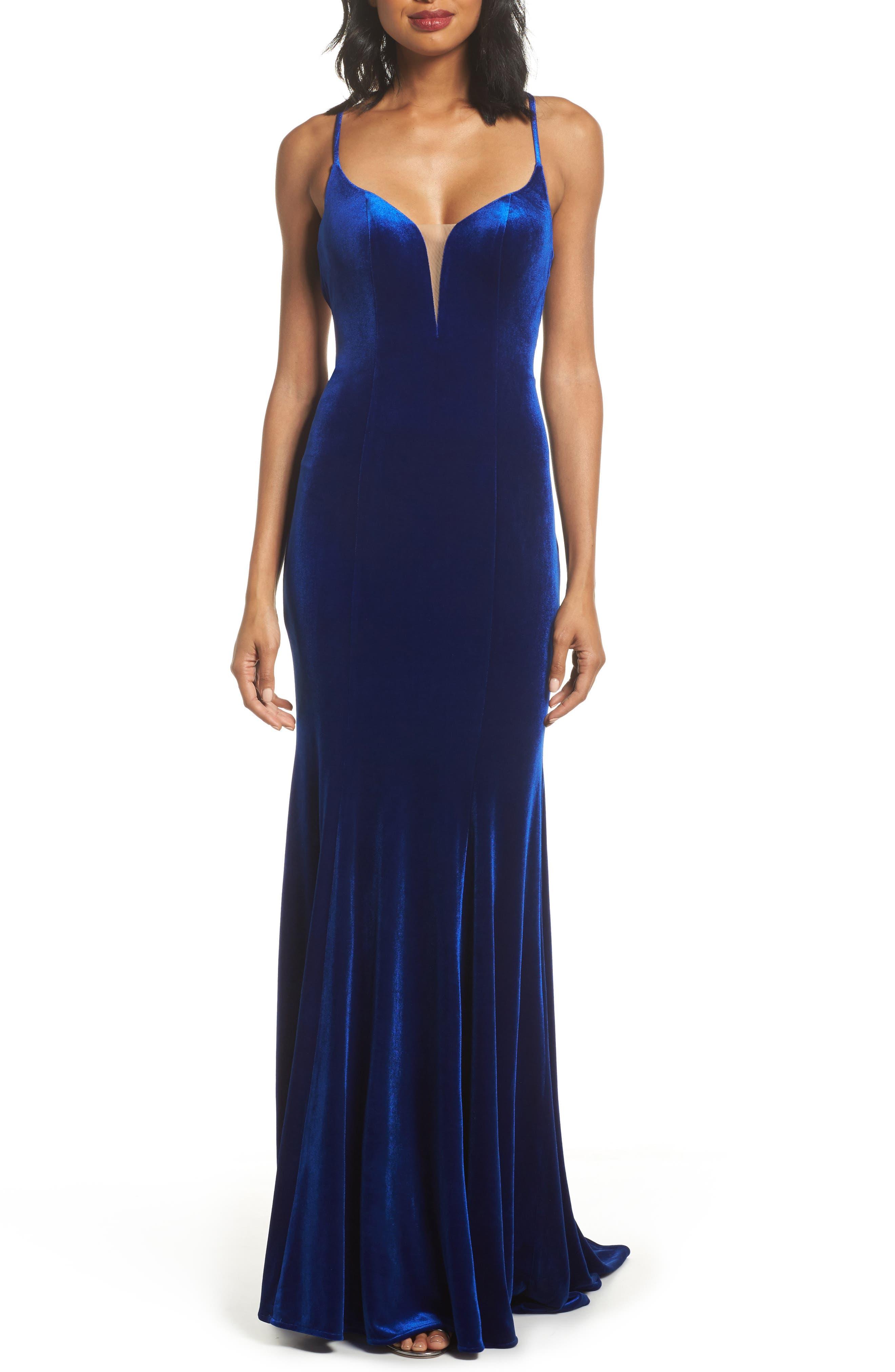 La Femme Crisscross Back Velvet Gown, Blue