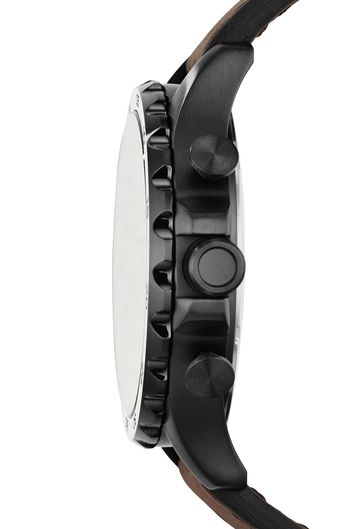 FOSSIL, 'Nate IP' Chronograph Watch, 50mm, Alternate thumbnail 2, color, BROWN/ BLACK