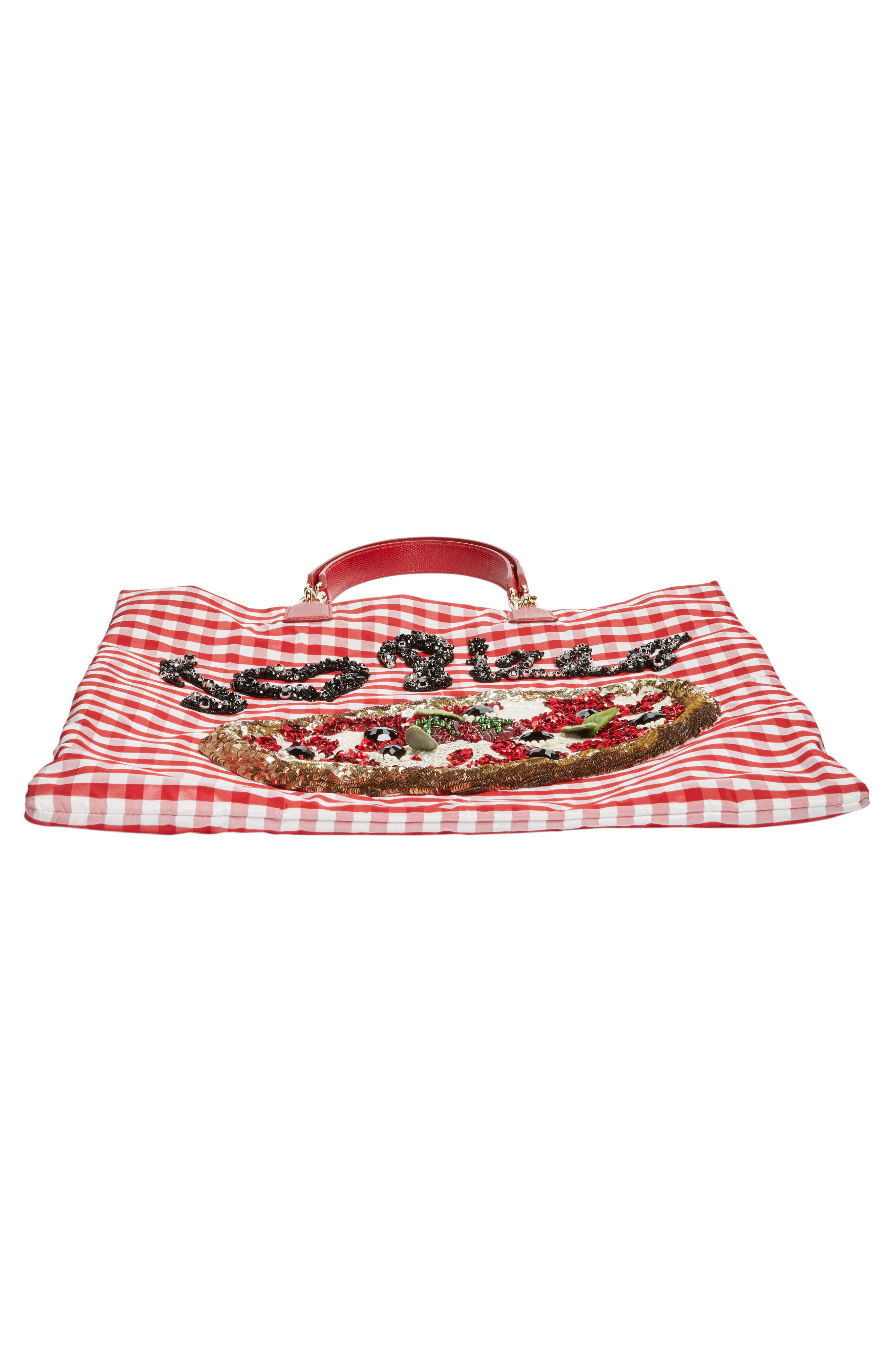 DOLCE&GABBANA, I Love Pizza Tote, Alternate thumbnail 6, color, 640