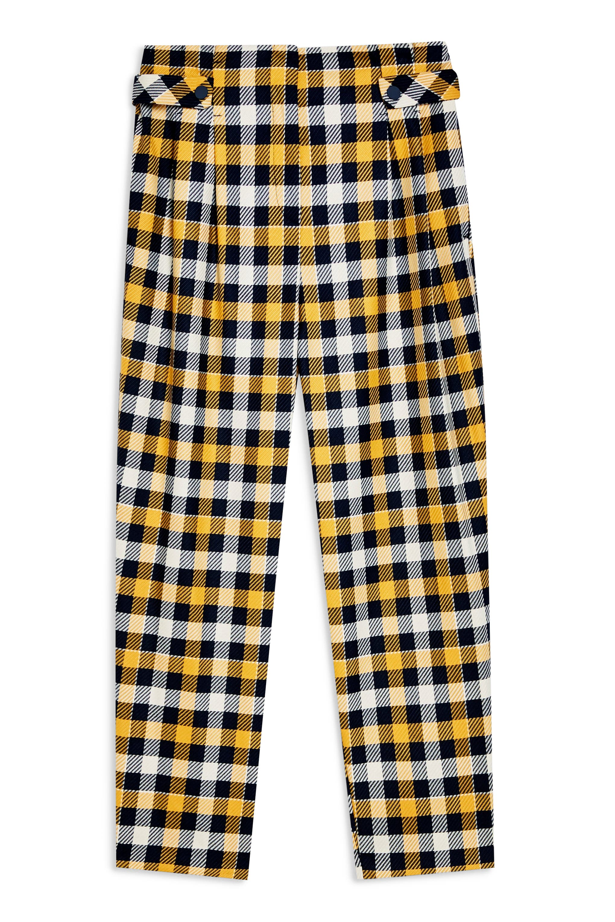 TOPSHOP, Tara Check Twill Crop Trousers, Alternate thumbnail 5, color, YELLOW MULTI