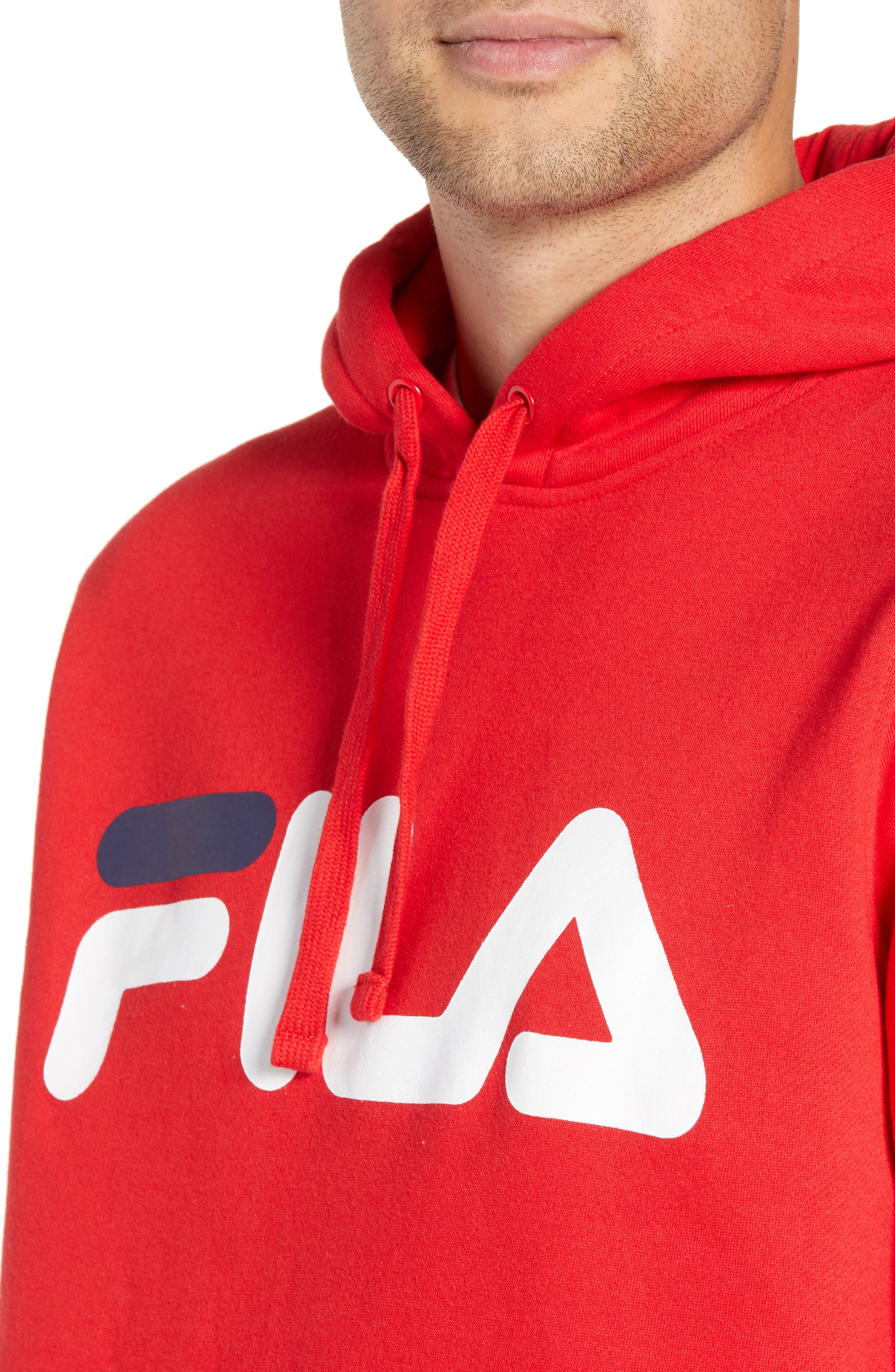 FILA, Logo Graphic Hooded Sweatshirt, Alternate thumbnail 4, color, CHINESE RED/ WHITE/ NAVY