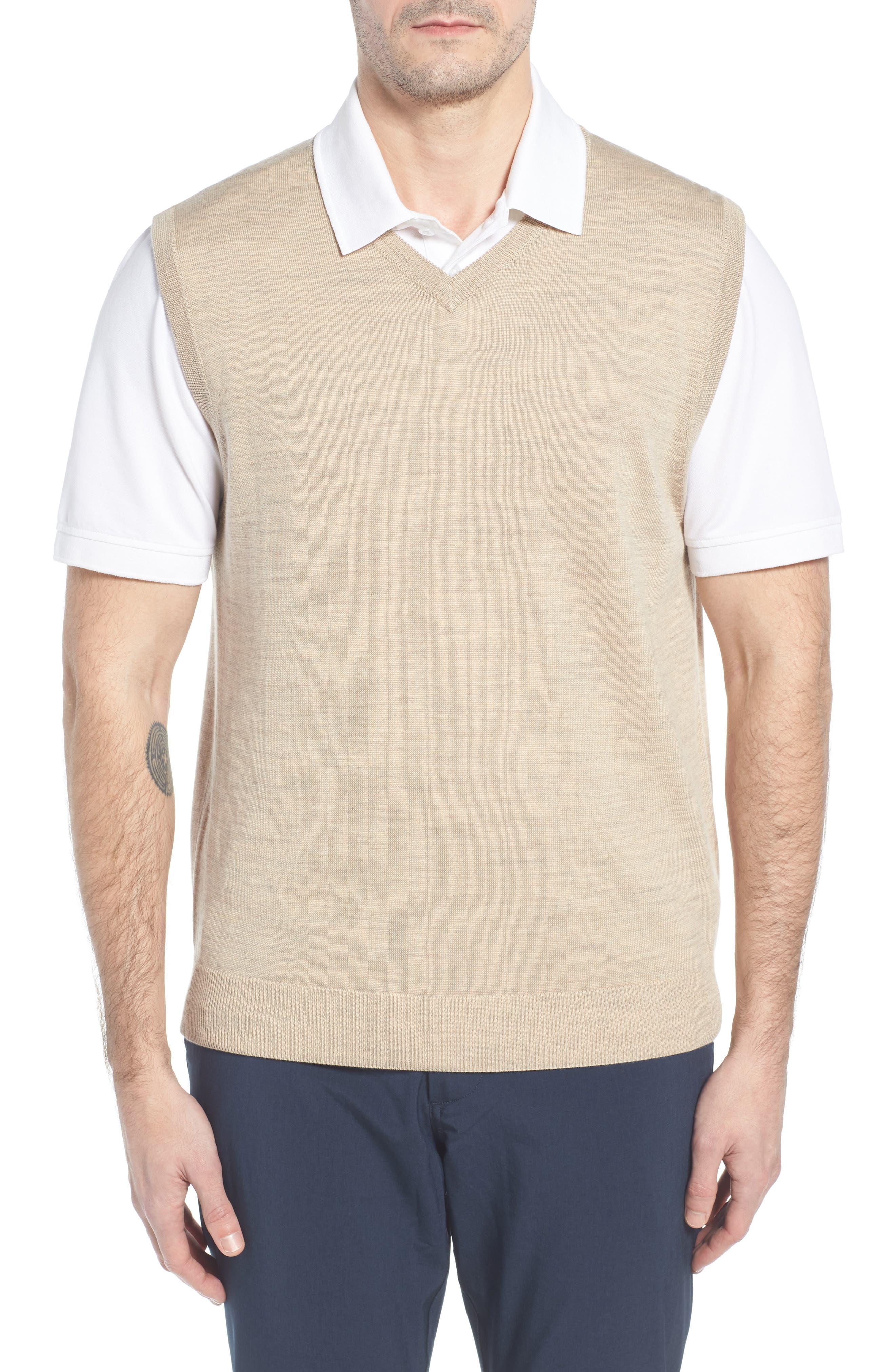 CUTTER & BUCK, 'Douglas' Merino Wool Blend V-Neck Sweater Vest, Main thumbnail 1, color, SAND HEATHER