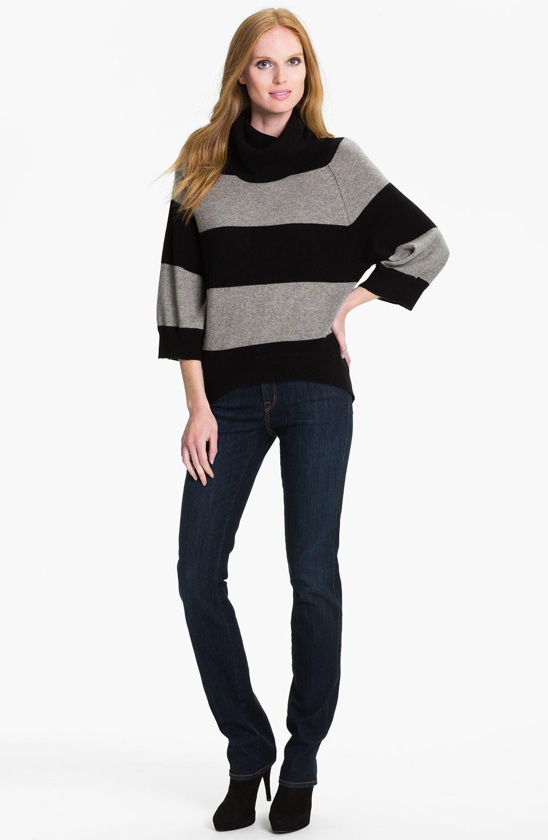PURE AMICI, Stripe Cashmere Tunic, Alternate thumbnail 2, color, 001