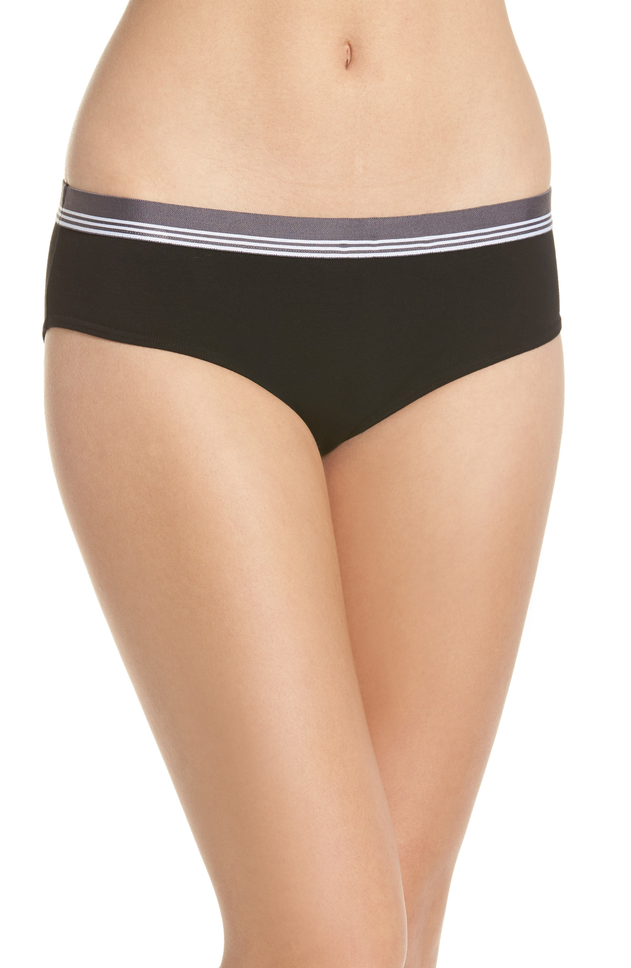 MAKE + MODEL, Sporty Hipster Briefs, Main thumbnail 1, color, BLACK