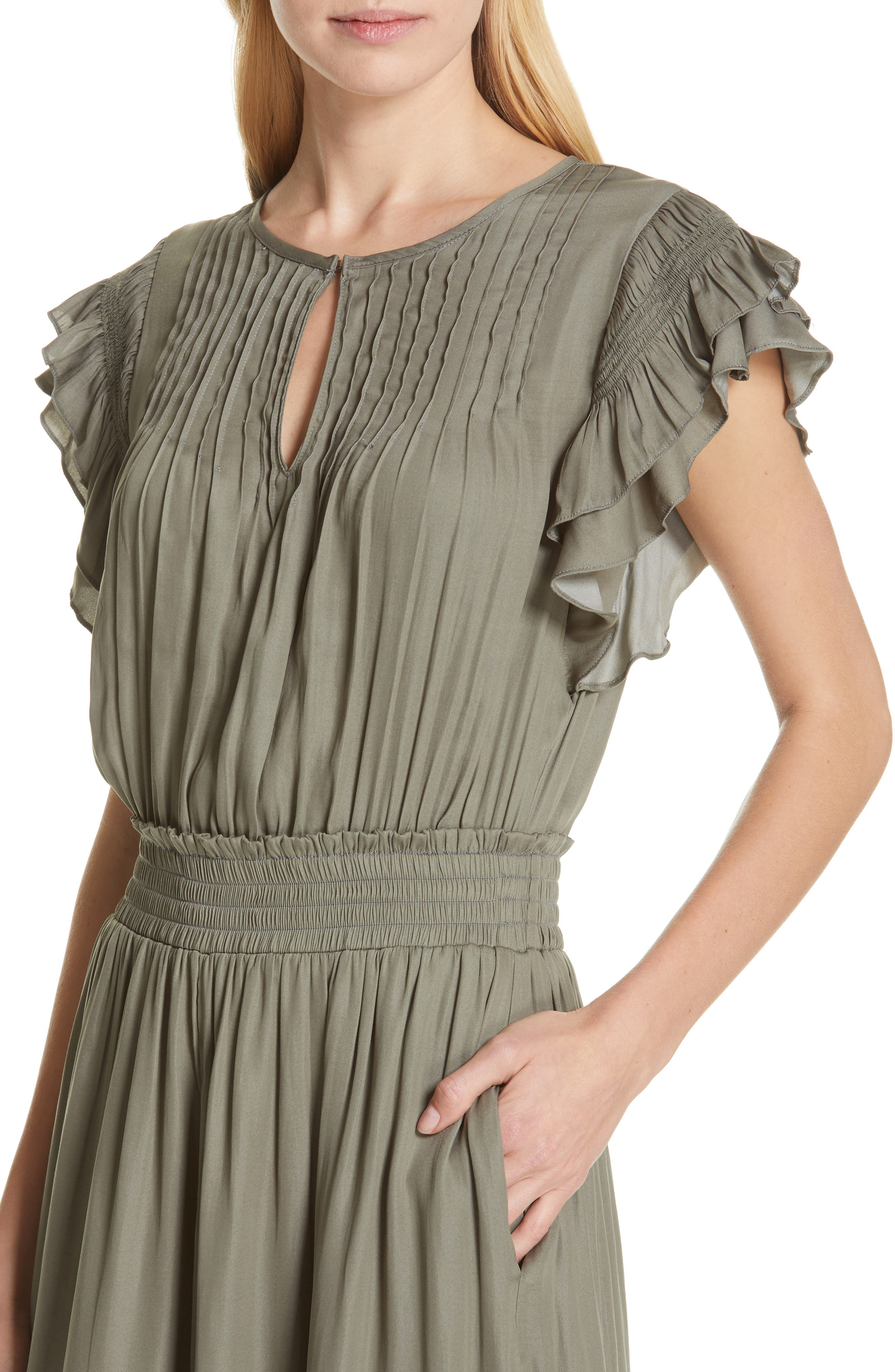 DOLAN, Carrie Pintucked Jumpsuit, Alternate thumbnail 5, color, SAGE