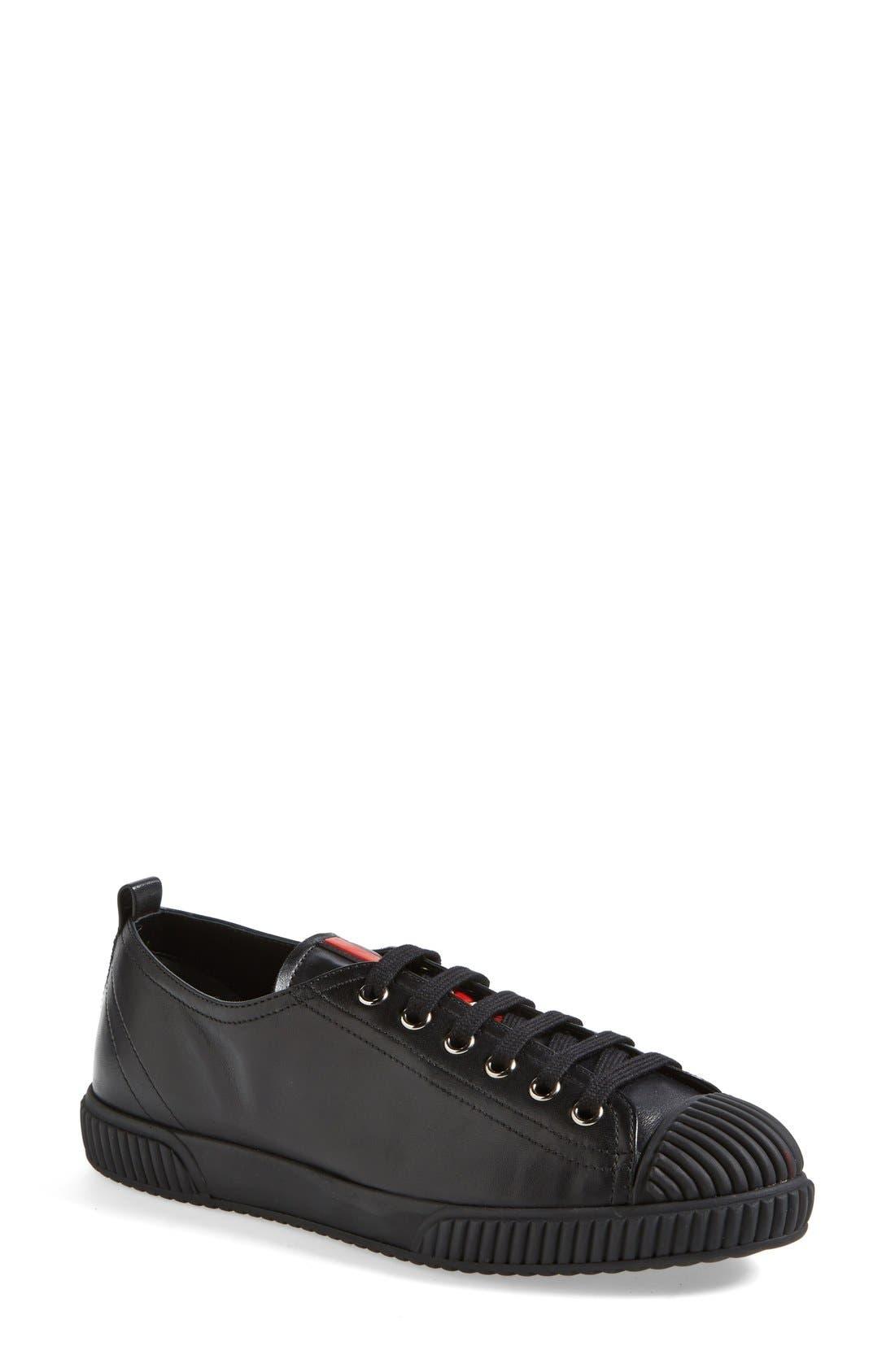 PRADA, Cap Toe Sneaker, Main thumbnail 1, color, 001