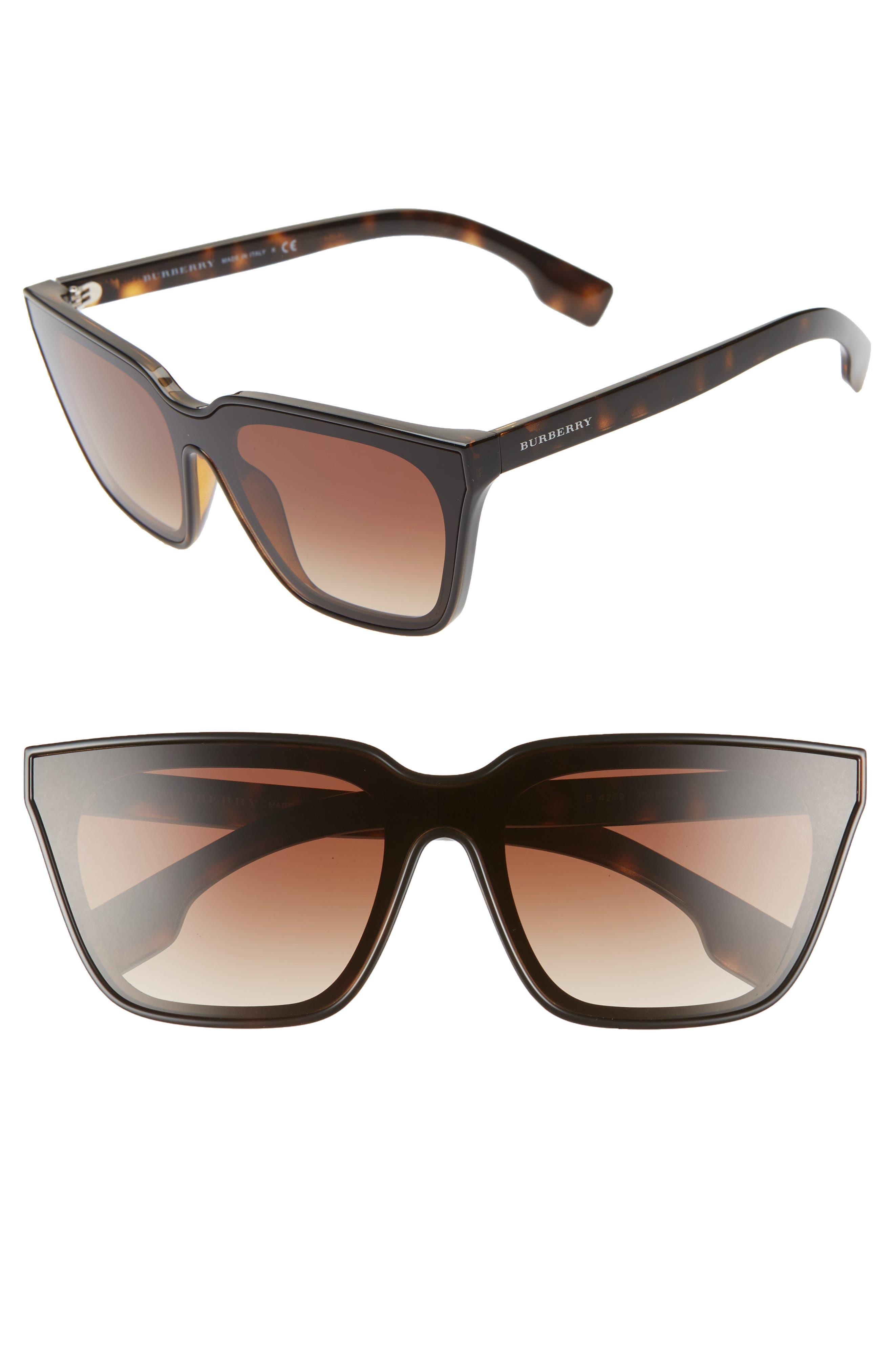 BURBERRY, 40mm Square Sunglasses, Main thumbnail 1, color, BLACK/ DARK HAVANA GRADIENT