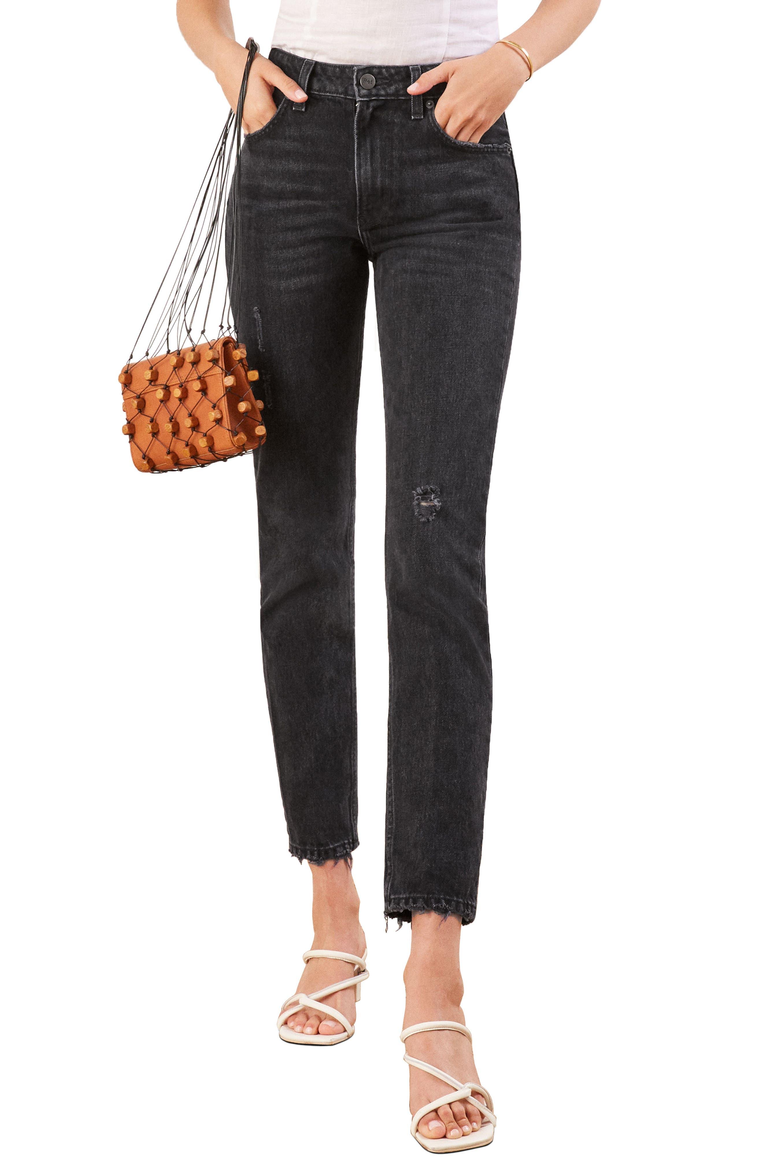 REFORMATION Julia High Waist Cigarette Jeans, Main, color, BLACK