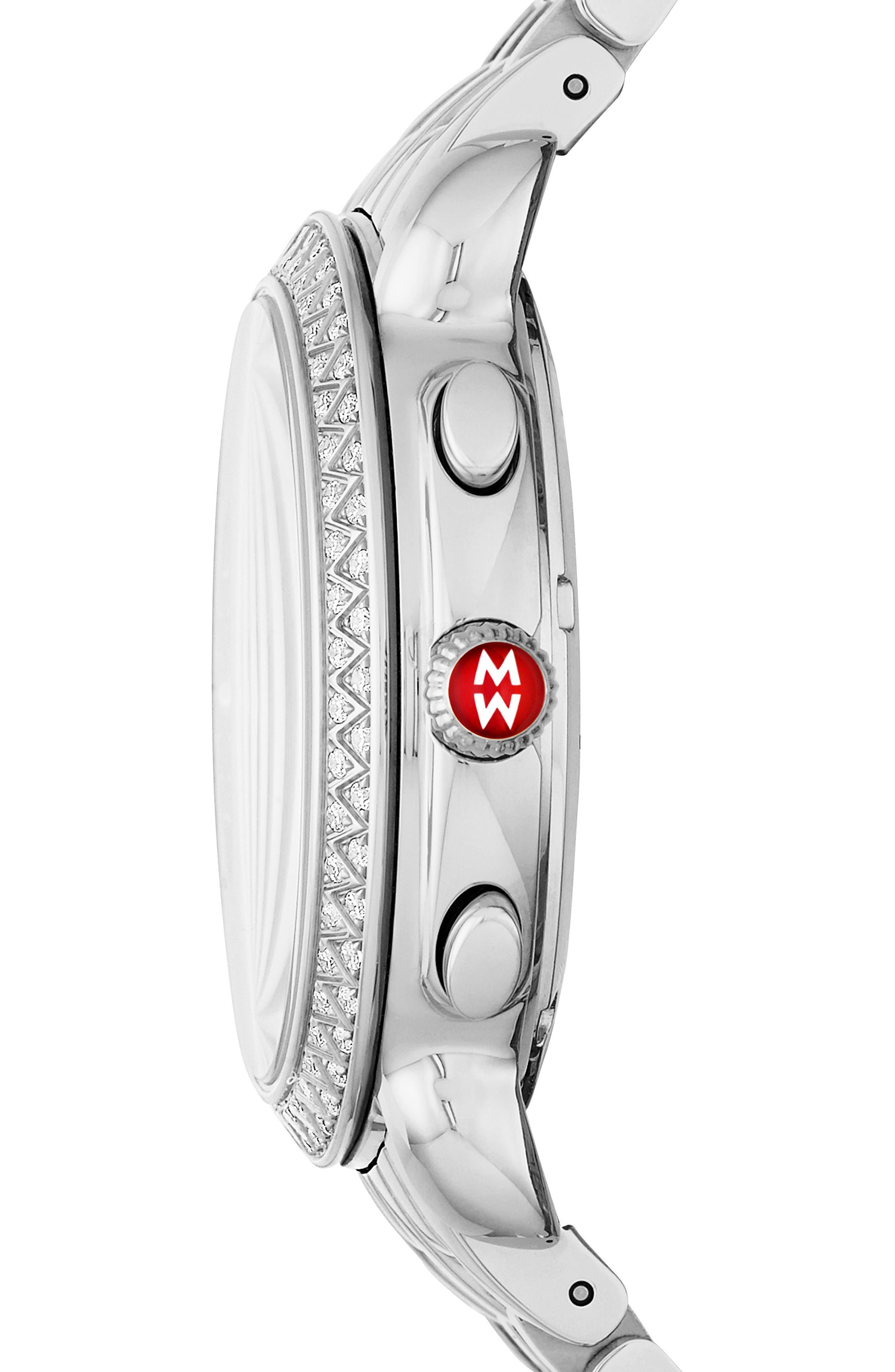 MICHELE, Sidney Chrono Diamond Diamond Dial Watch Case, 38mm, Alternate thumbnail 3, color, SILVER/ CASHMERE/ ROSE GOLD