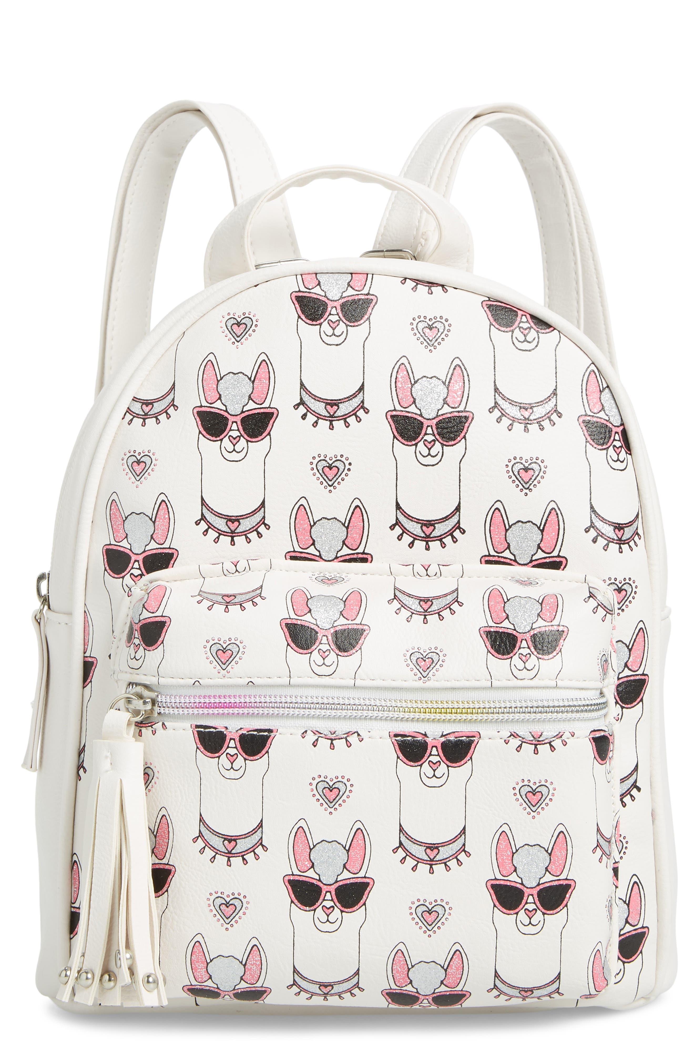 Girls Omg Llama Print Mini Backpack  White