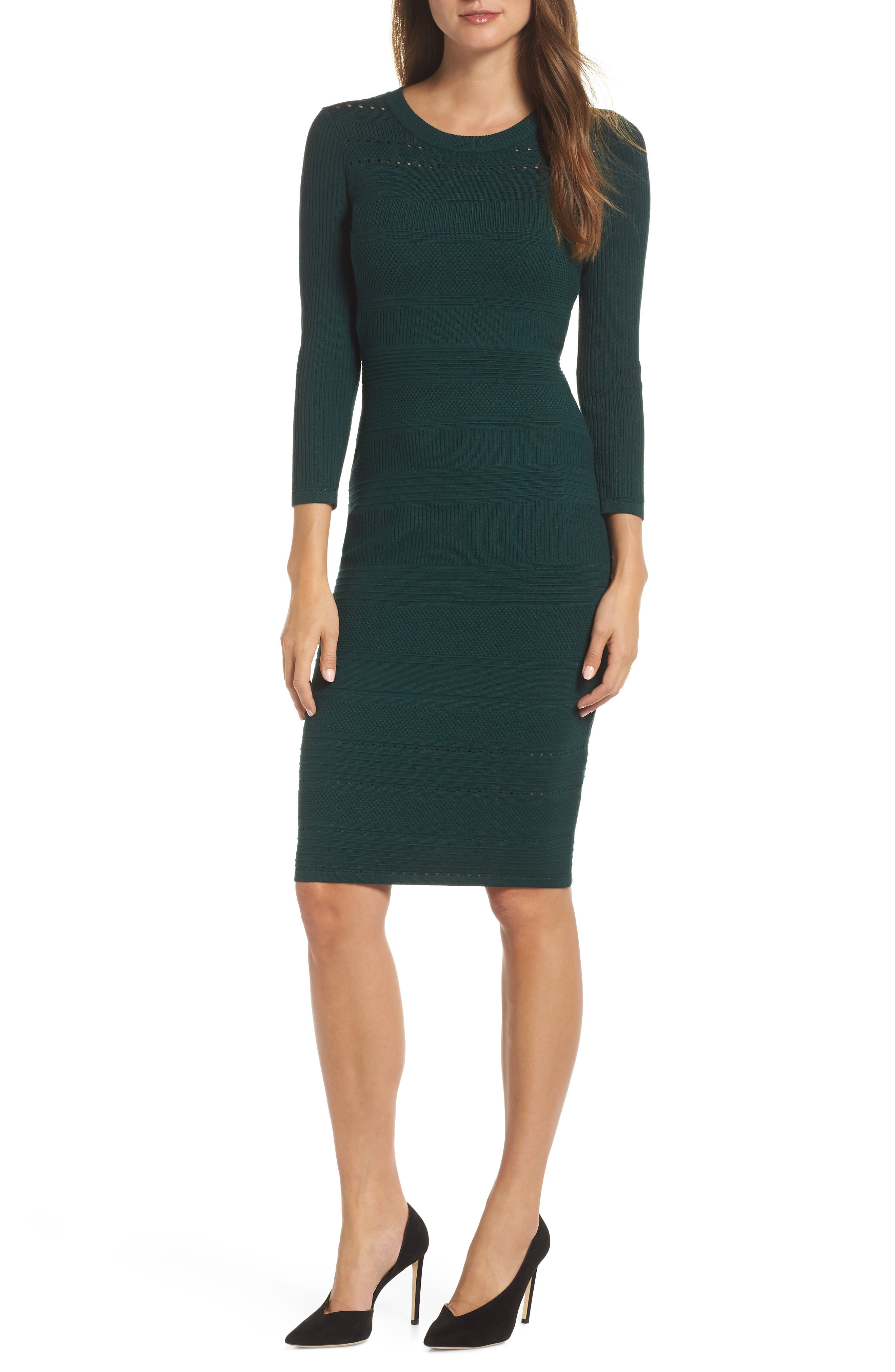 ELIZA J, Stitch Detail Sweater Dress, Main thumbnail 1, color, GREEN