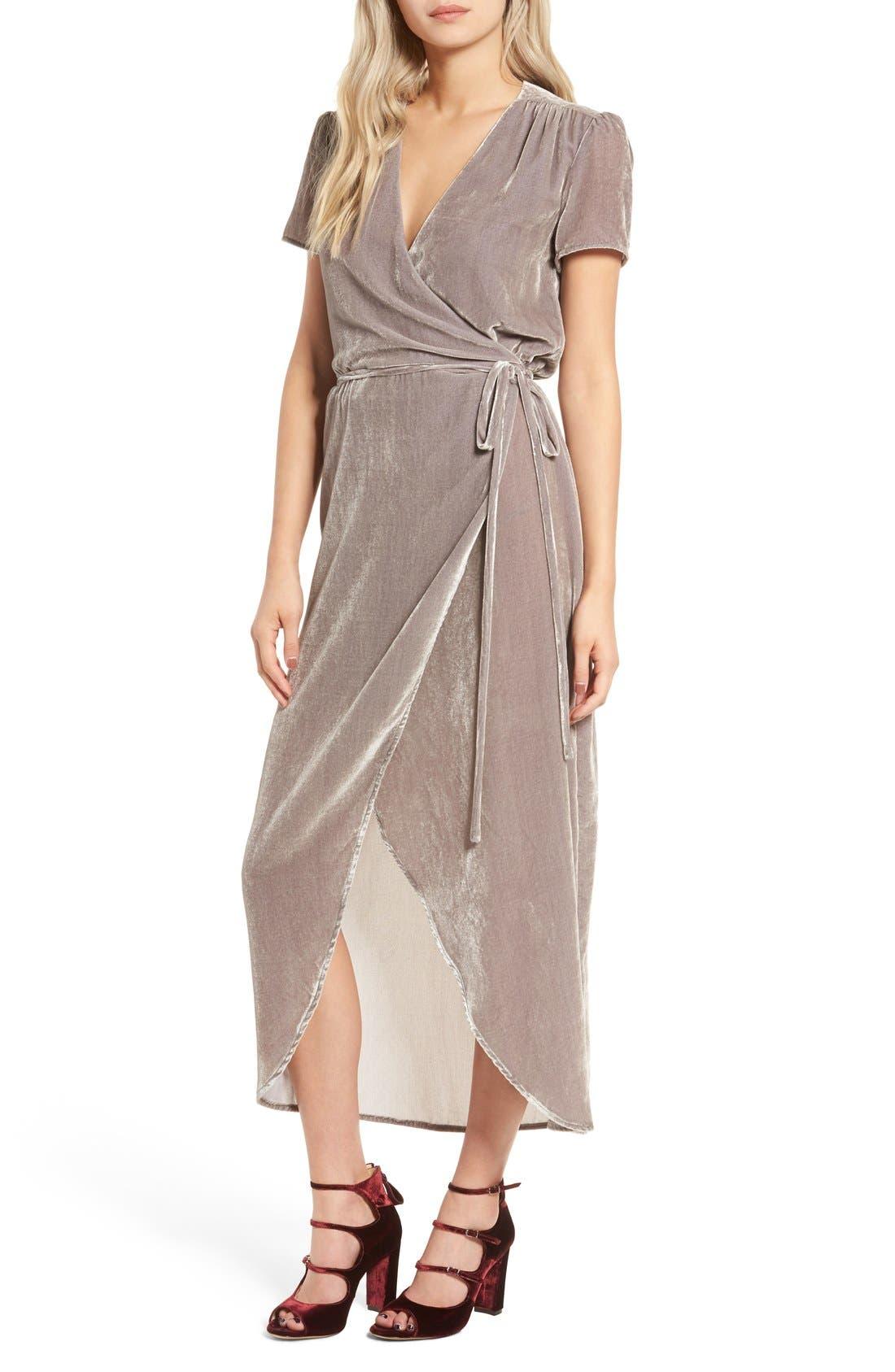 WAYF, Next to You Velvet Wrap Dress, Main thumbnail 1, color, 051