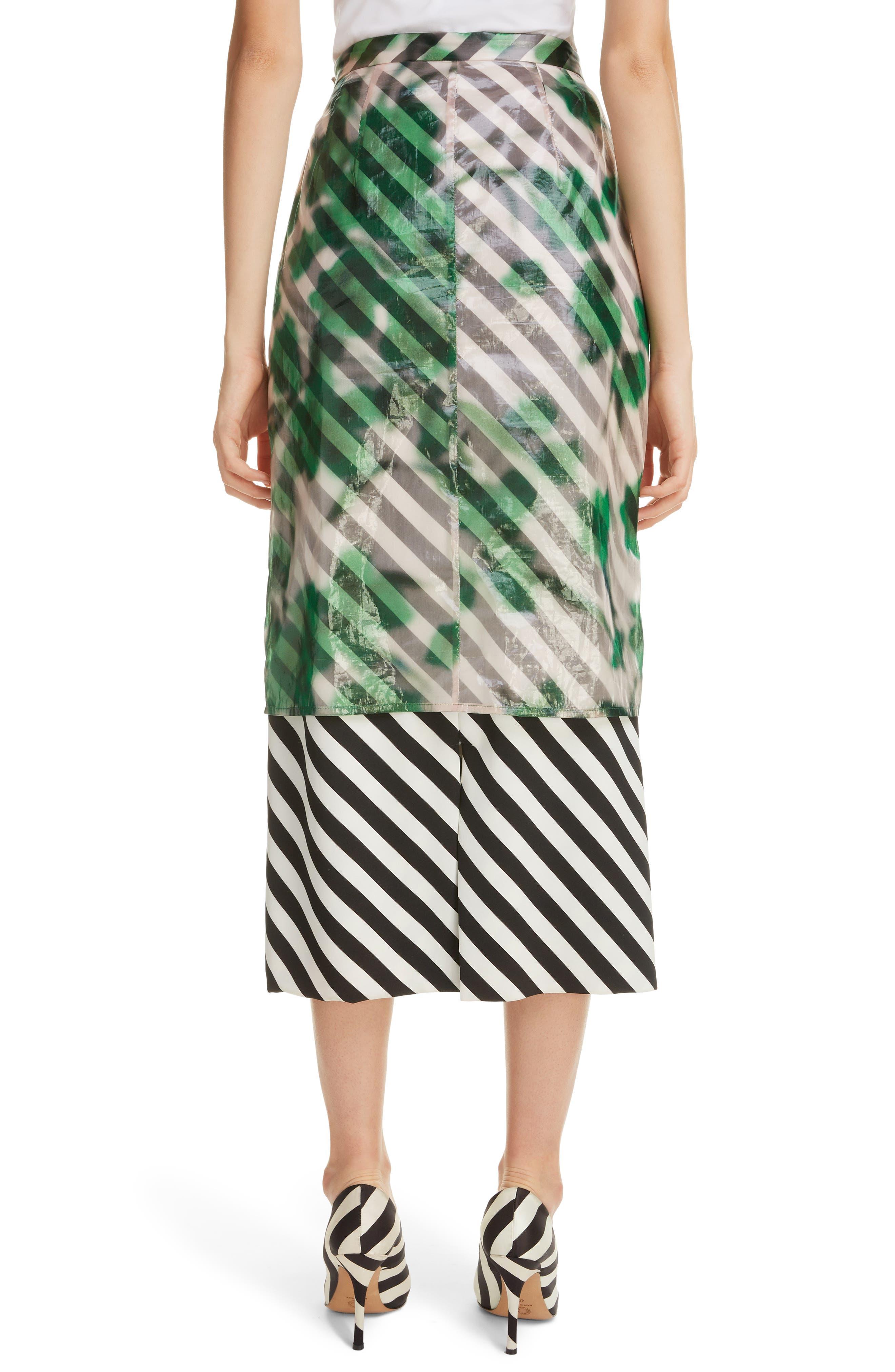DRIES VAN NOTEN, Dires Van Noten Painted Overlay Silk Blend Pencil Skirt, Alternate thumbnail 2, color, 604-GREEN