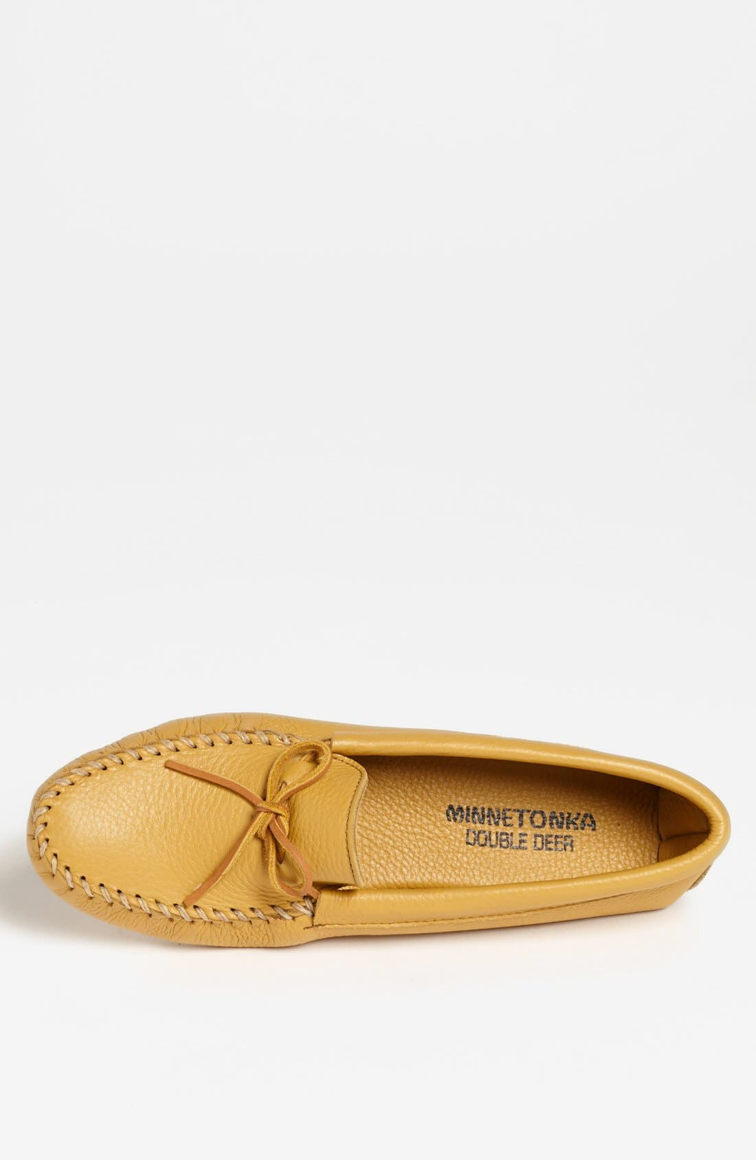 MINNETONKA, Deerskin Moccasin, Alternate thumbnail 3, color, NATURAL DEERSKIN
