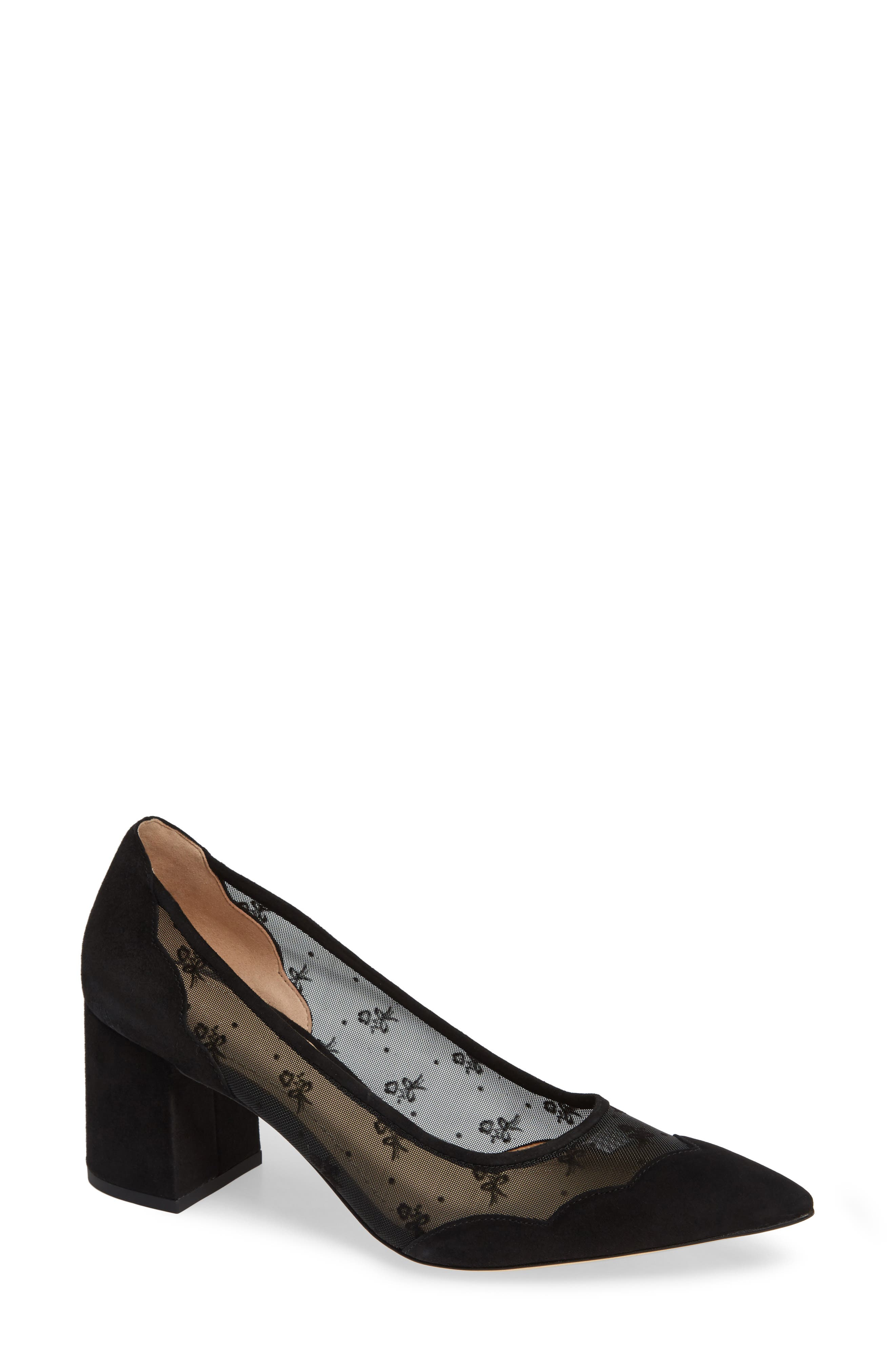 COACH, Whitley Scallop Pointy Toe Pump, Main thumbnail 1, color, BLACK SUEDE