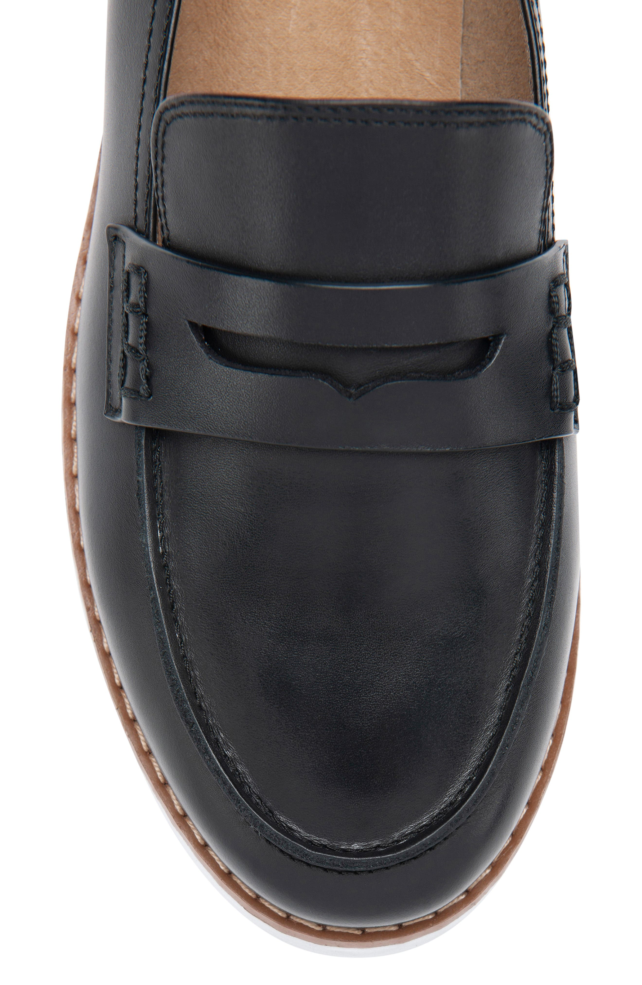 BLONDO, Waterproof Penny Loafer, Alternate thumbnail 5, color, BLACK LEATHER