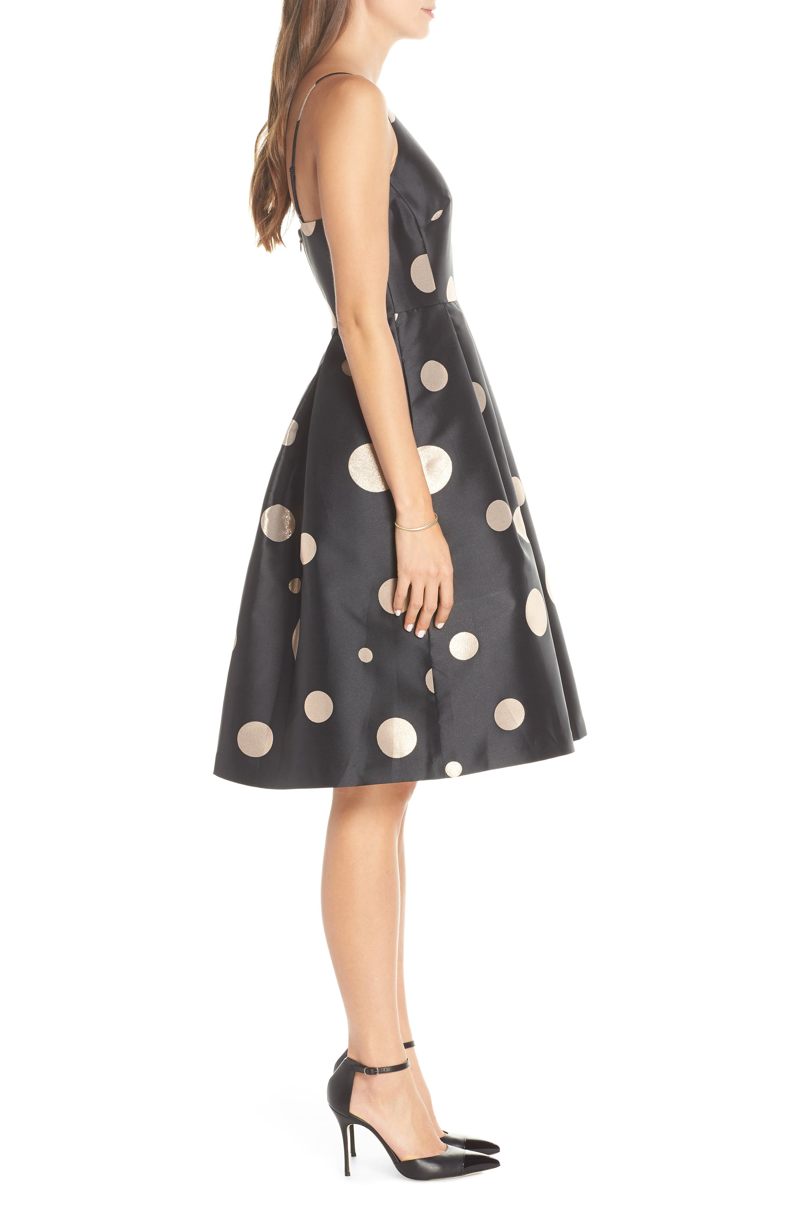 1901, Dot Fit & Flare Party Dress, Alternate thumbnail 4, color, 001