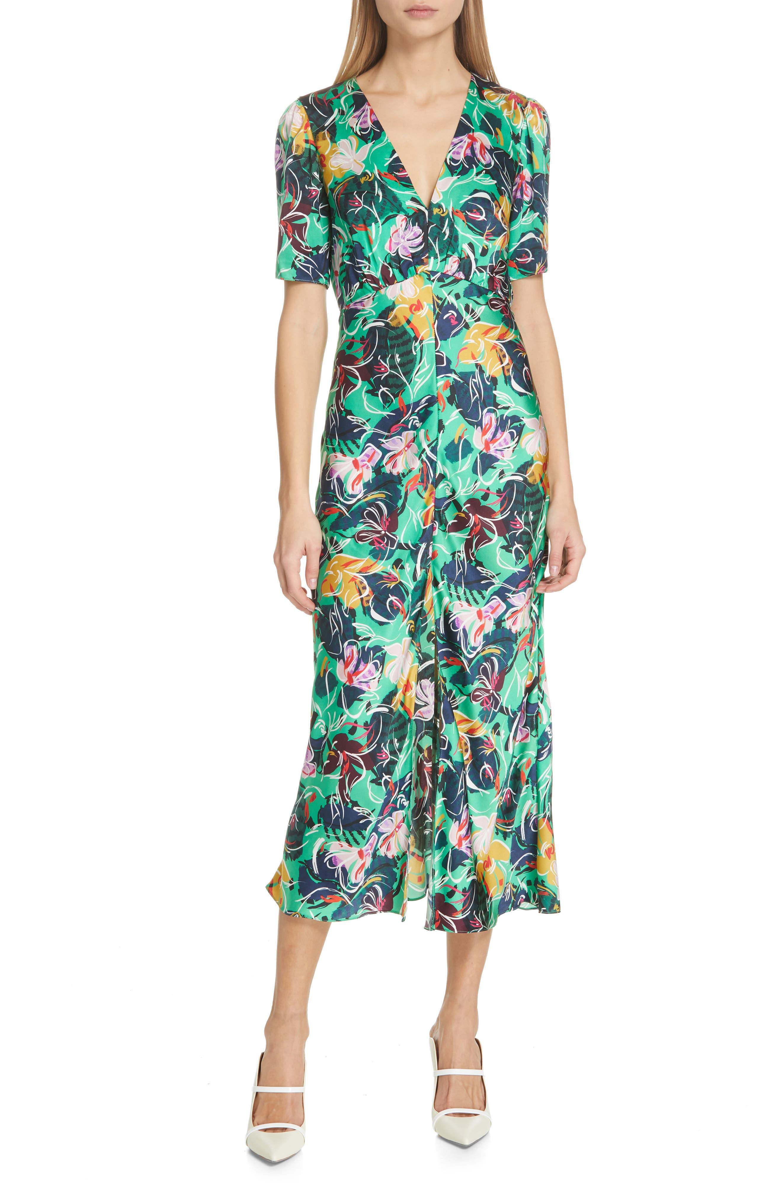 SALONI, Eden Floral Print Silk Midi Dress, Main thumbnail 1, color, EMERALD KINGCUP